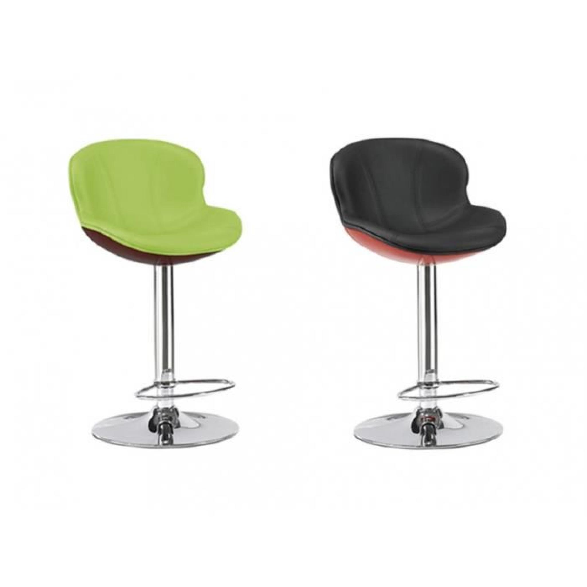 Lot de 2 tabourets de bar smiley noir rouge achat vente tabouret de bar pas cher couleur - Tabouret de bar design rouge ...