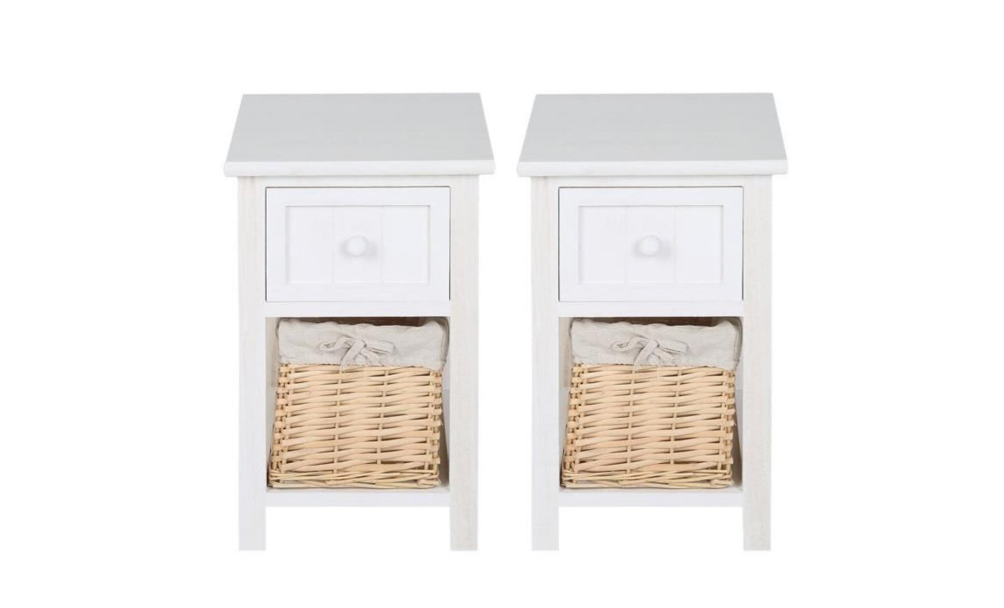 lot de 2pcs table de chevet en bois avec le rotin 1 tiroirs et 1 cabinet