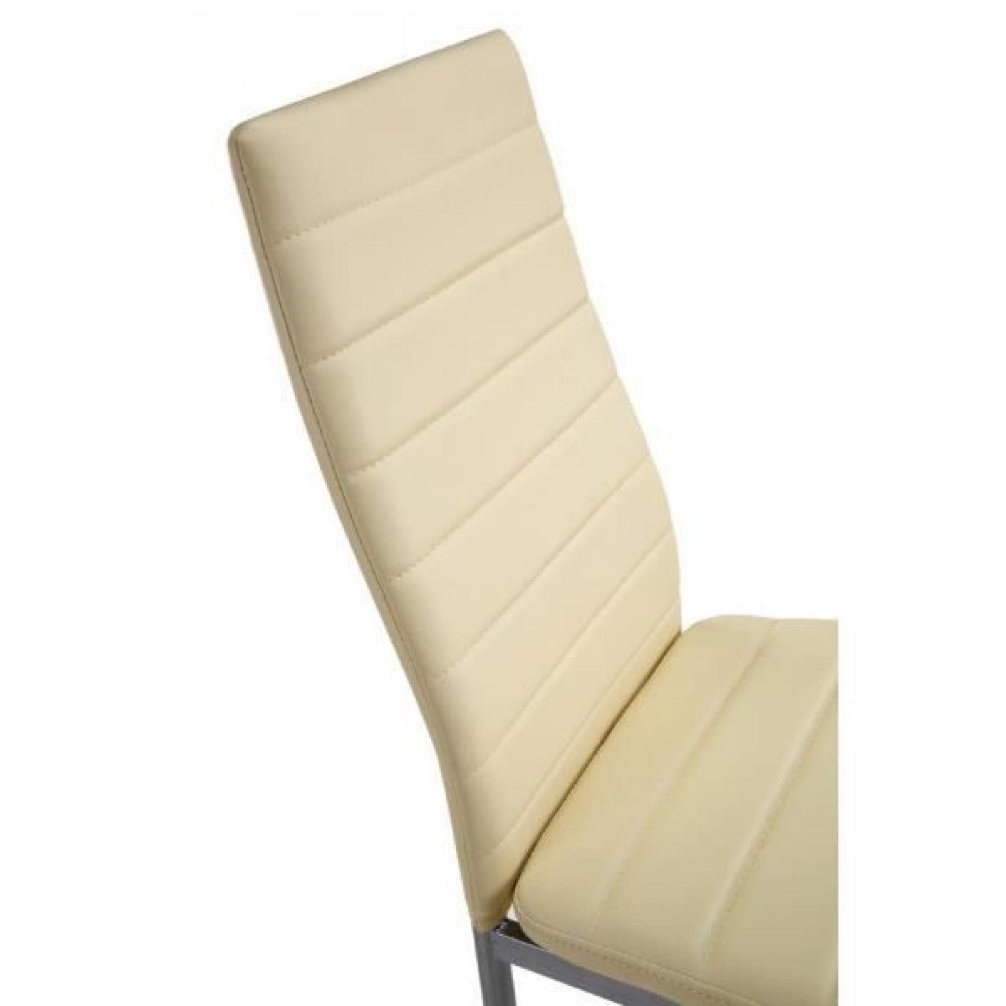 Lot de 4 Chaises Beiges ultra-confort - Achat/Vente chaise ...