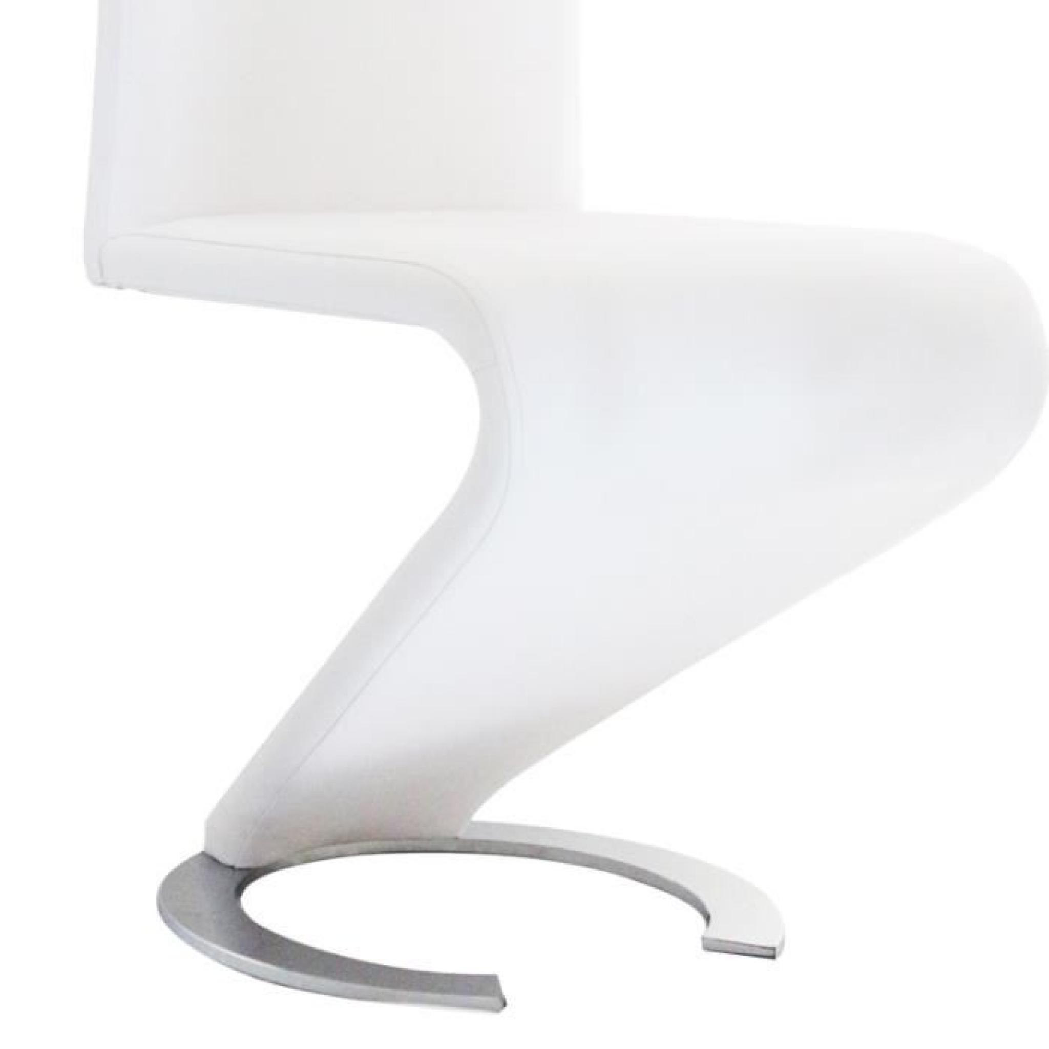 lot de 4 chaises blanche design hugo achat vente lit superpose pas cher couleur et. Black Bedroom Furniture Sets. Home Design Ideas