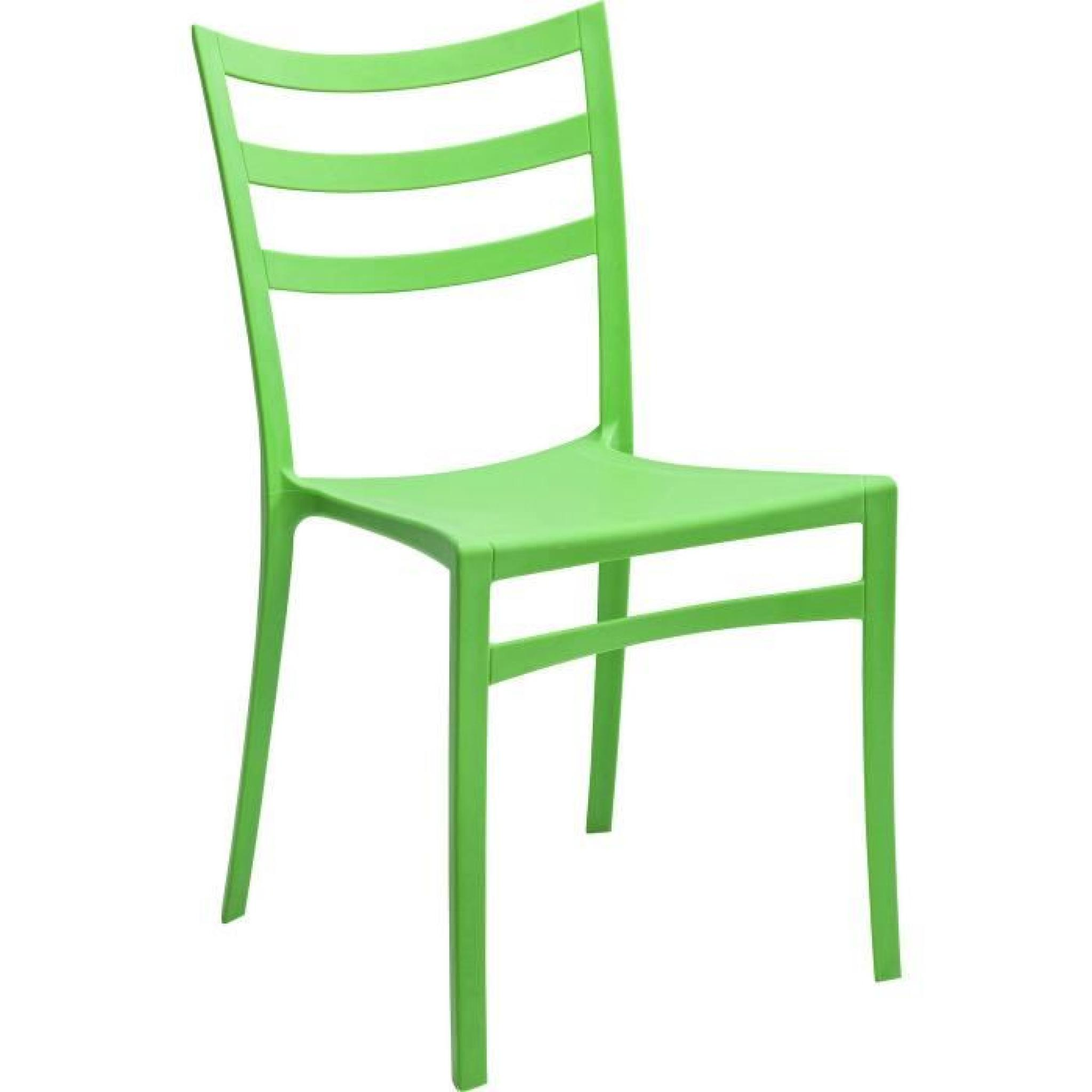 Lot de 4 Chaises cuisine jardin plastique vert - Achat ...