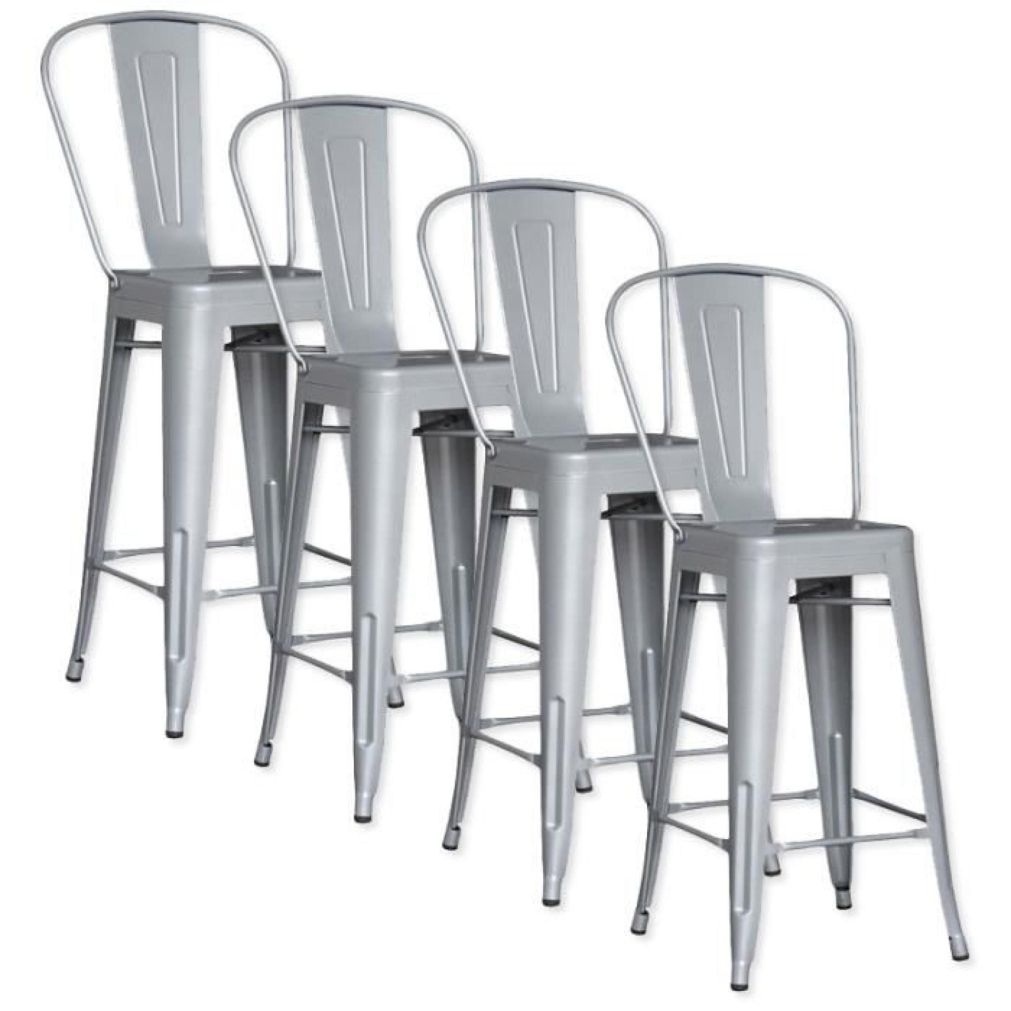 Lot de 4 chaises de bar m tal loft laqu gris achat vente tabouret de bar p - Lot 4 tabouret de bar ...