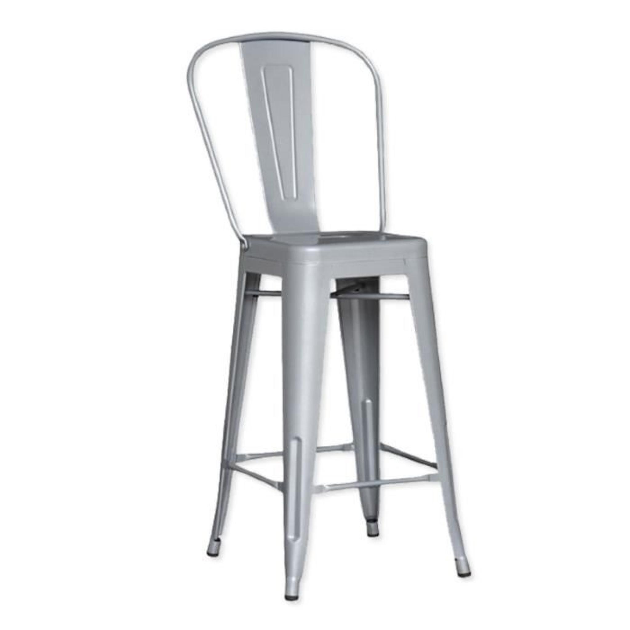 Lot de 4 chaises de bar m tal loft laqu gris achat vente tabouret de bar p - Lots de chaises pas cher ...