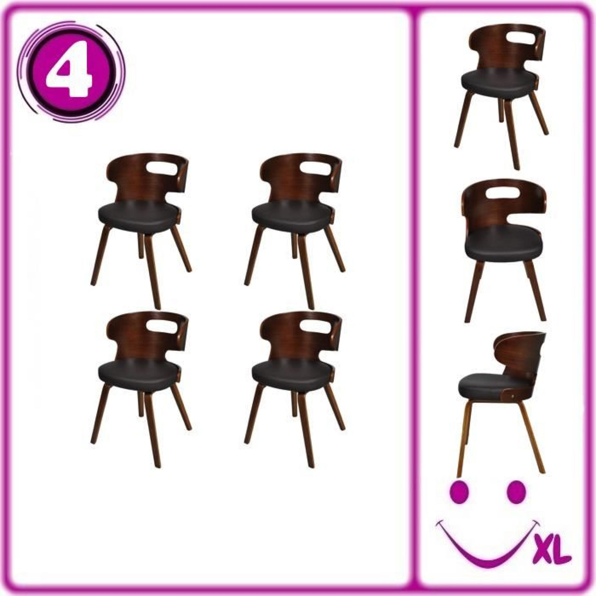 lot de 4 chaises de salle manger en cuir m lang brun. Black Bedroom Furniture Sets. Home Design Ideas