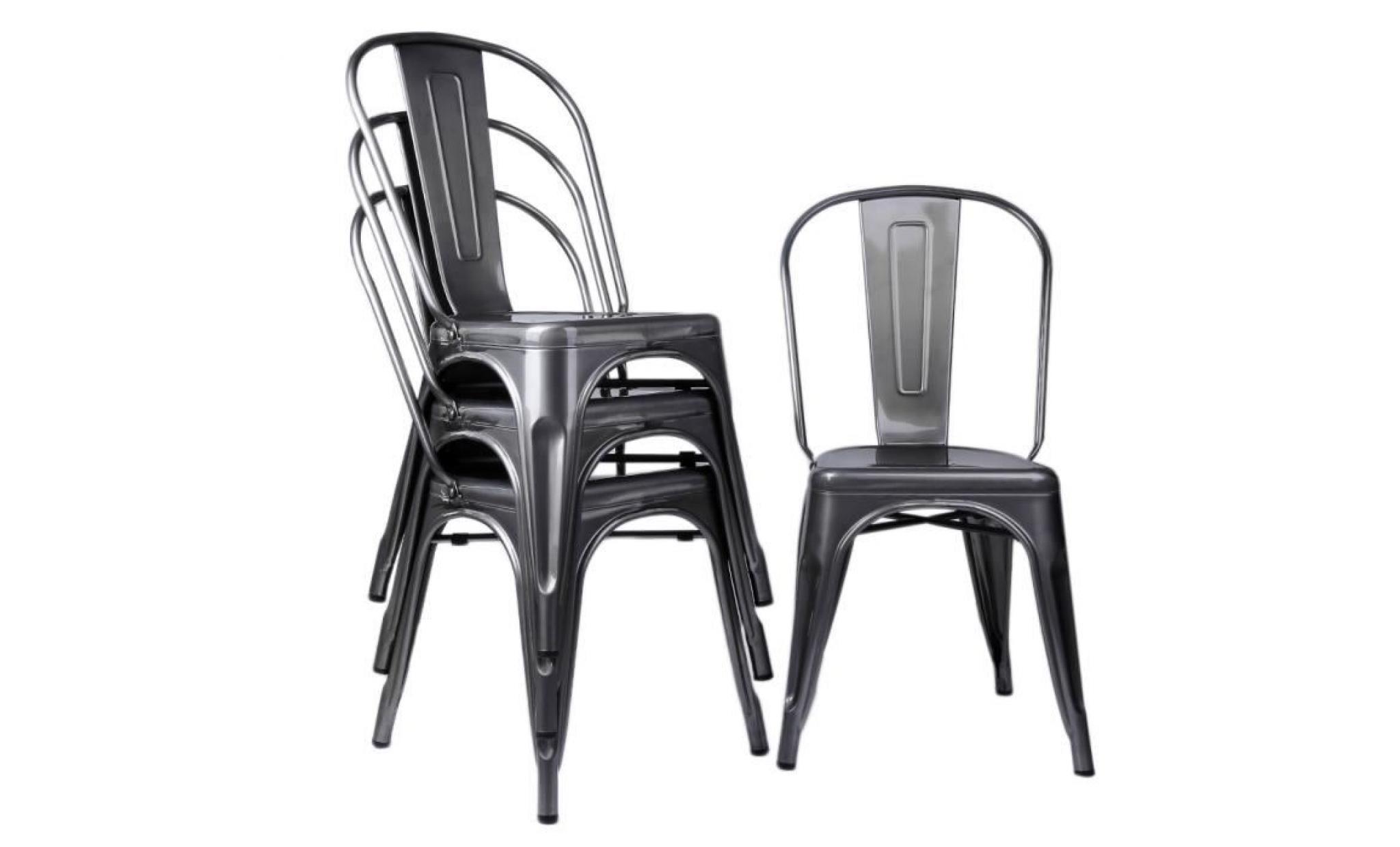 lot de 4 chaises de salle à manger en métal design industriel siège vintage grisâtre