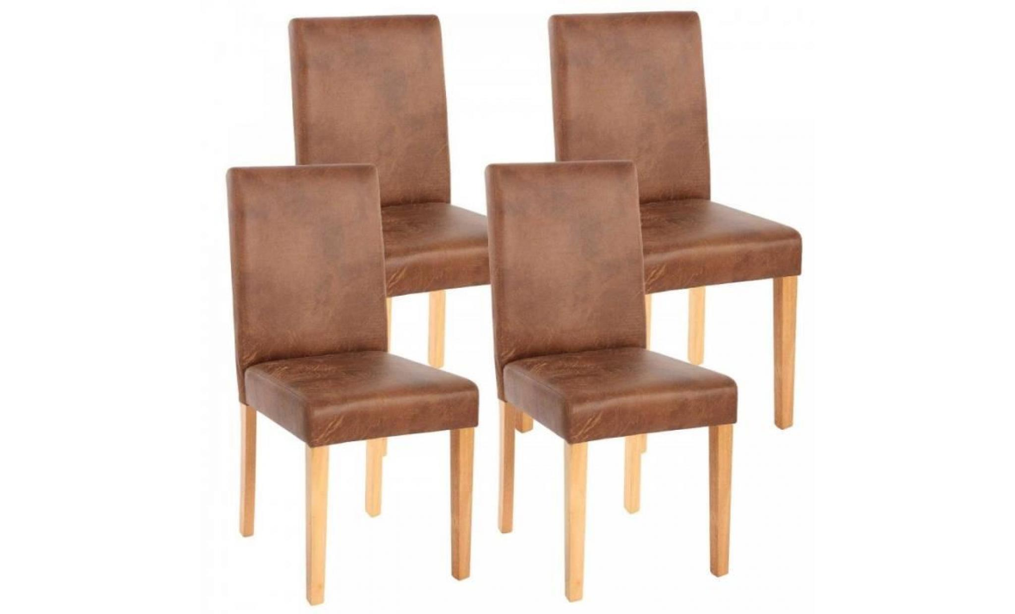 Lot de 4 chaises de salle manger simili cuir marron for Chaises simili cuir marron