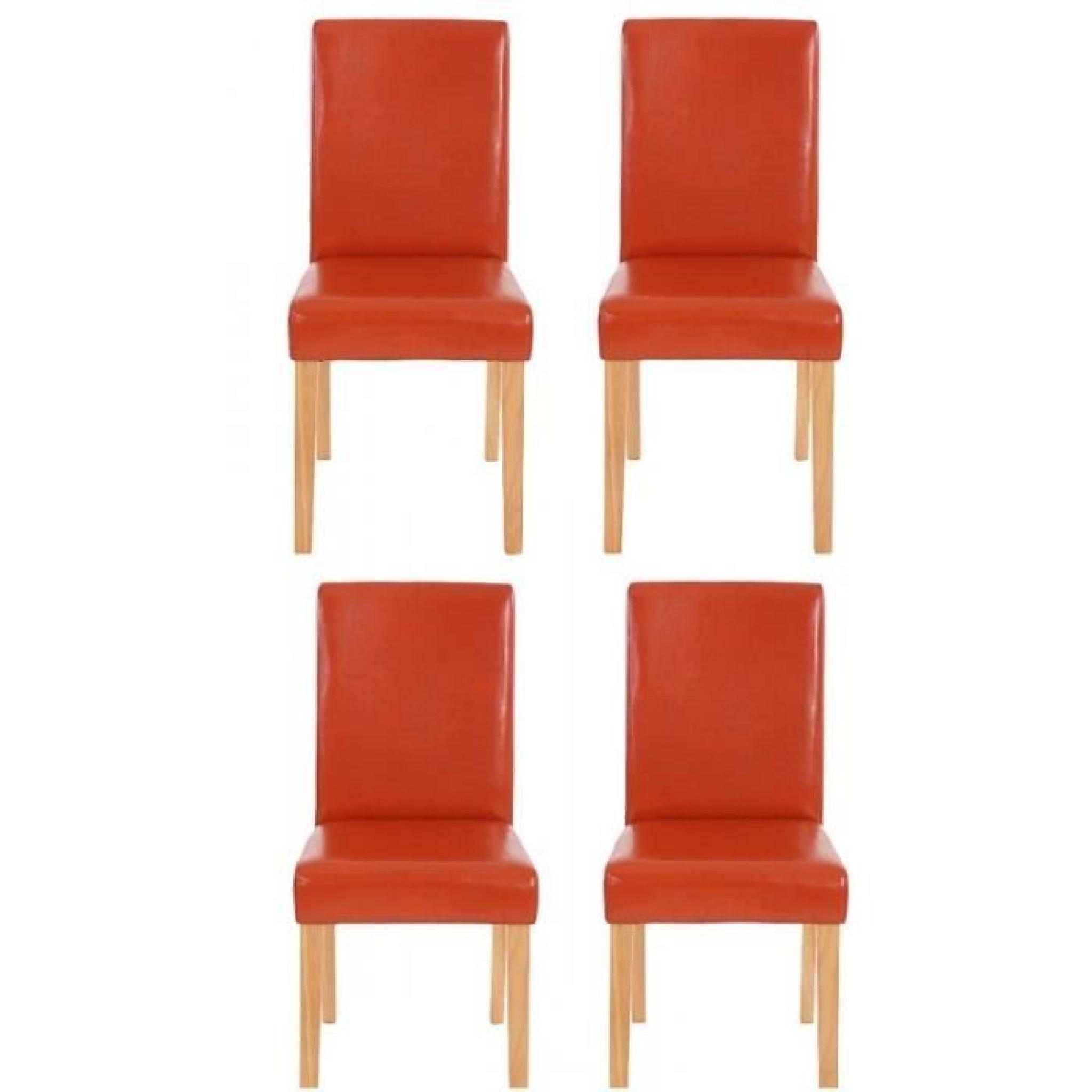 Lot De 4 Chaises De Salle A Manger Simili Cuir Orange Pieds Clairs Cds04152