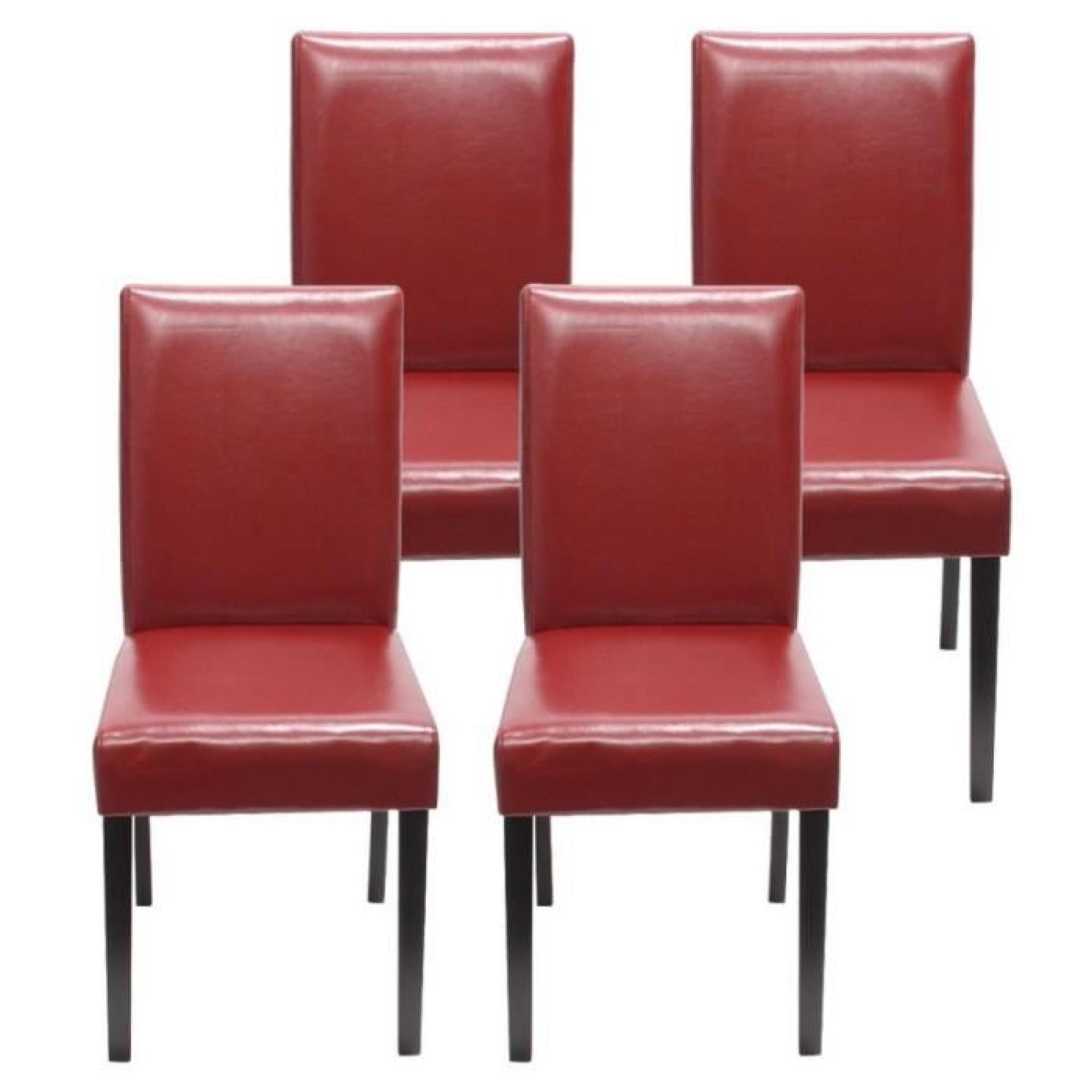 Lot de 4 chaises de salle manger simili cuir rouge pieds for Chaise de salle a manger de couleur