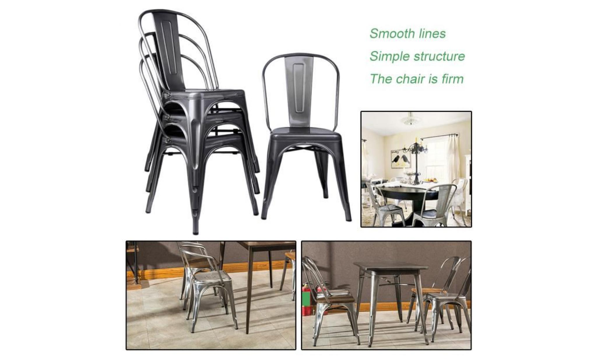 lot de 4 chaises de salle manger style industriel factory m tal gris cds09102 achat vente. Black Bedroom Furniture Sets. Home Design Ideas