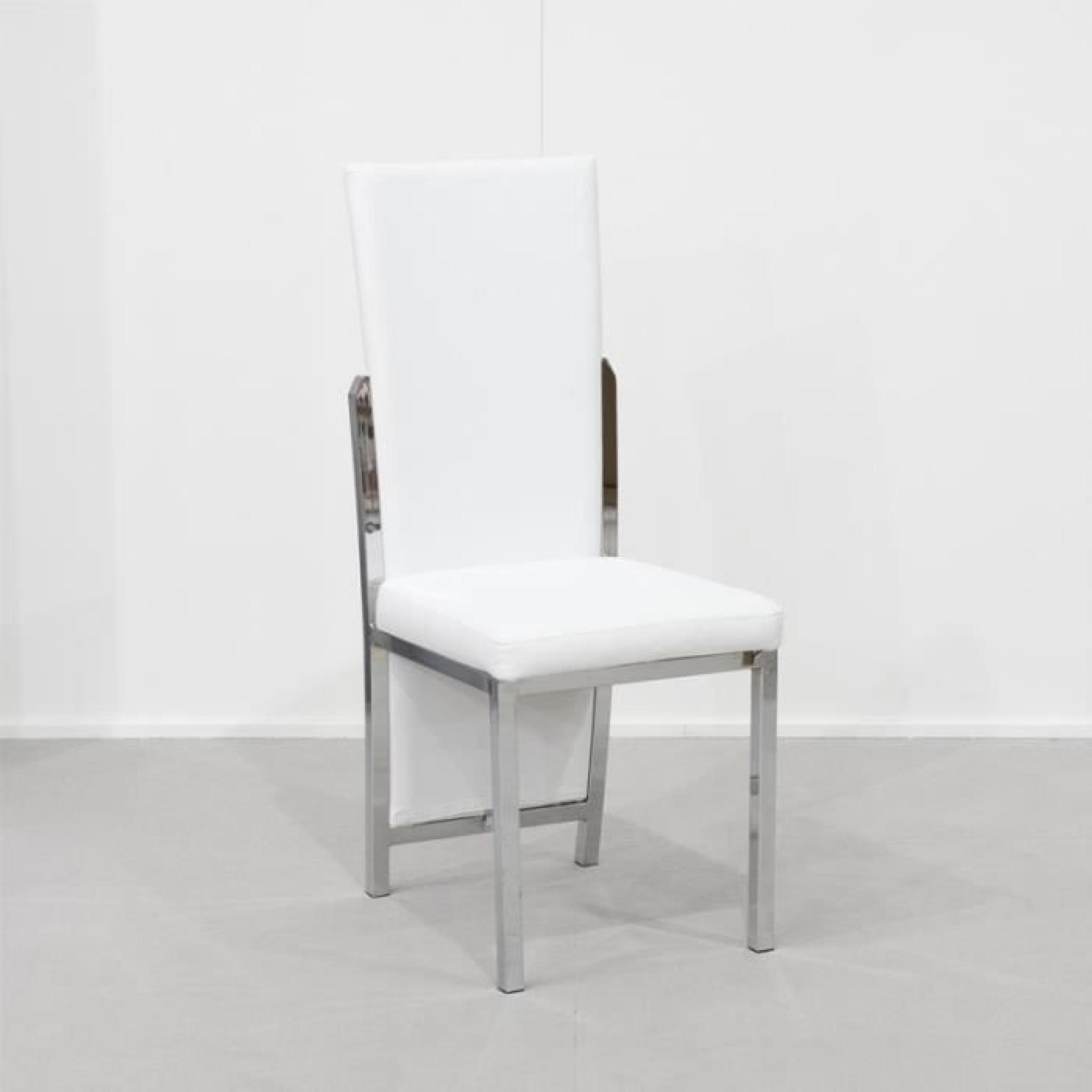 Lot de 4 chaises de séjour Blanches BROOKS - Achat/Vente ...
