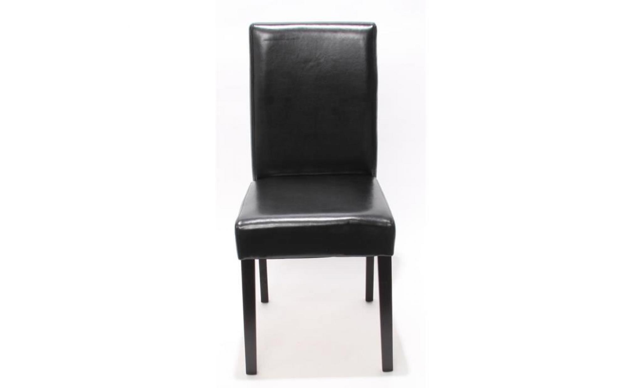 Lot de 4 chaises de s jour littau cuir reconstitu marron pieds clairs achat vente chaise for Chaise sejour pas cher