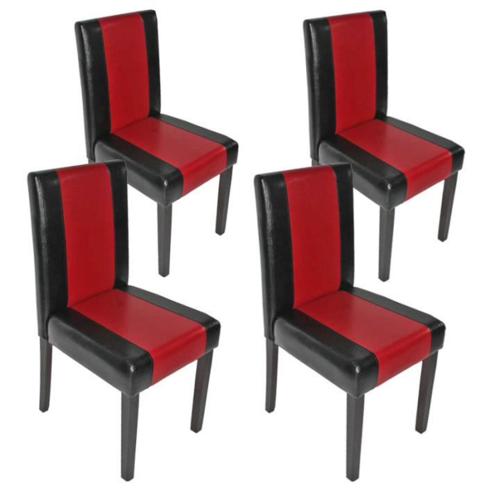 Lot de 4 chaises de séjour Littau, PU, noir-rouge, pieds foncés ...