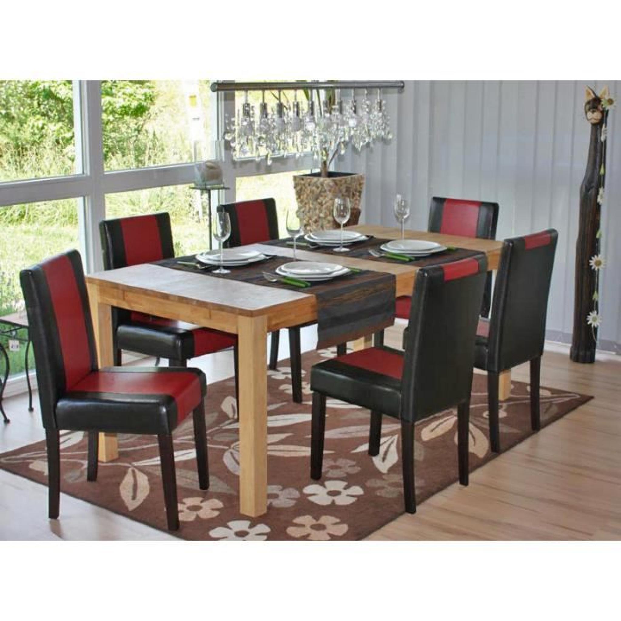 Lot de 4 chaises de séjour Littau, PU, noir-rouge, pieds foncés.