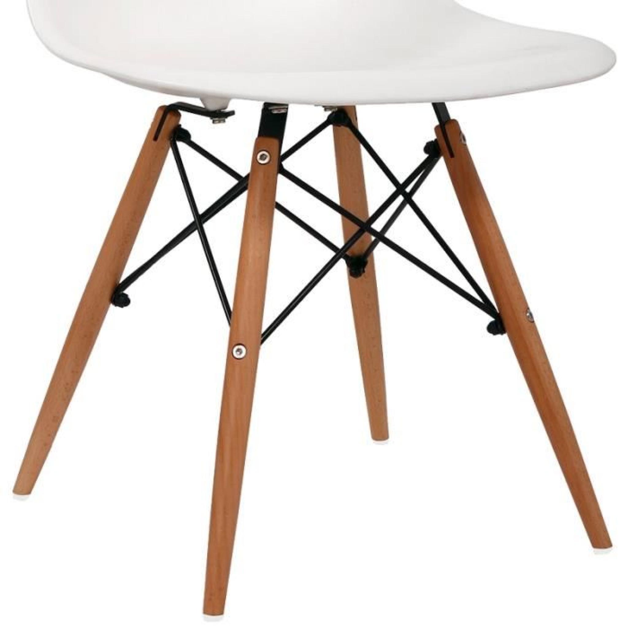 Lot de 4 chaises design blanche nina achat vente chaise salle a manger pas cher couleur et - Chaise design blanche pas cher ...