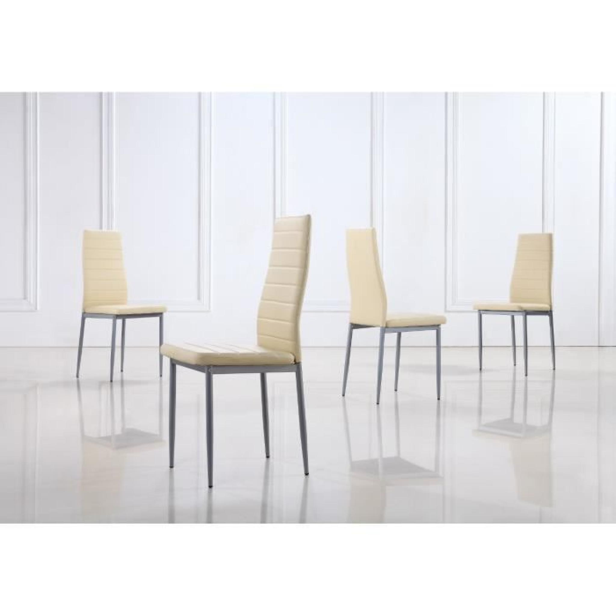 Lot De 4 Chaises Design De Salle A Manger Beige