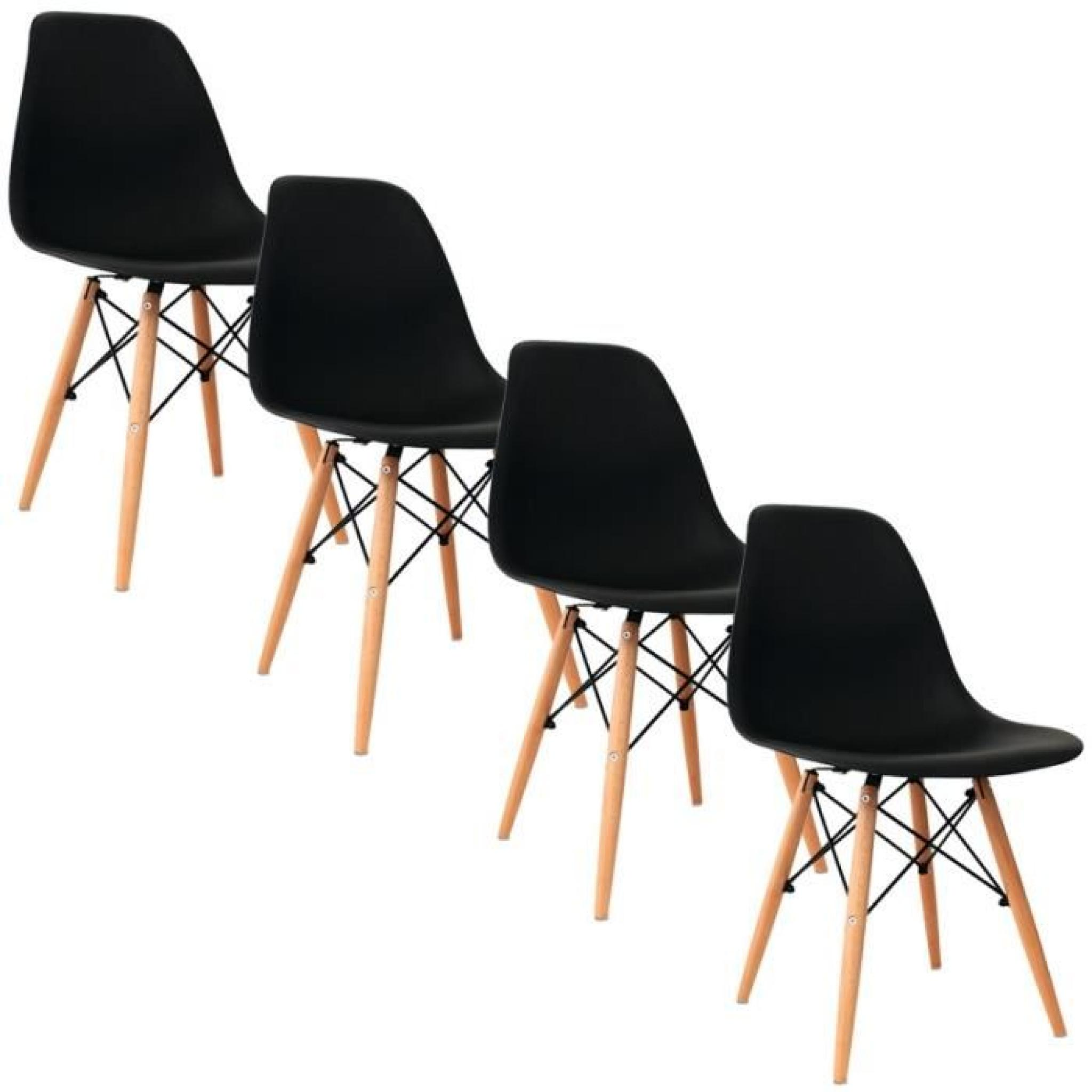 Lot de 4 chaises design noir nina achat vente chaise for Lot 4 chaise salle a manger