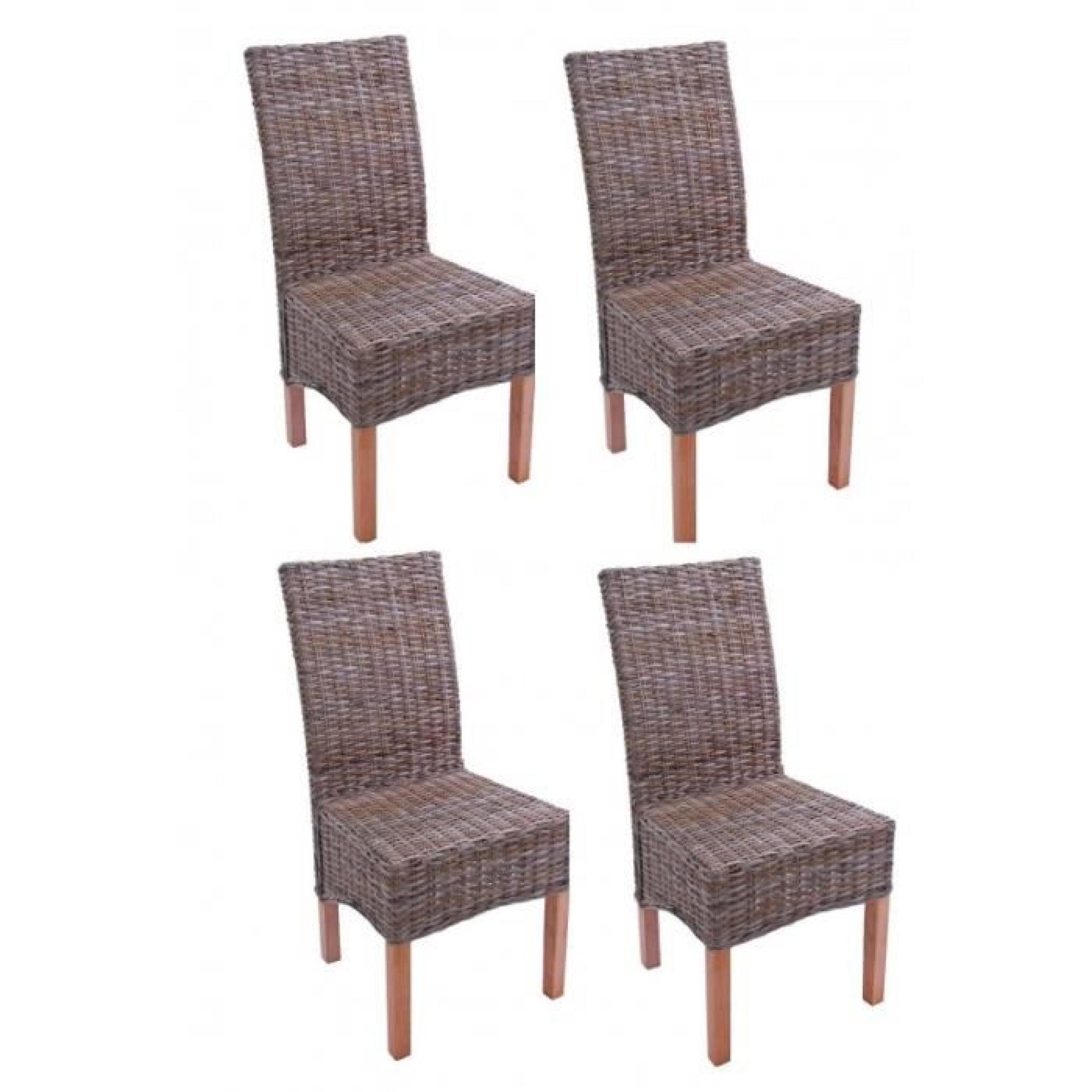 Lot de 4 chaises en rotin kubu pieds en bois cds04104 Chaise de salle a manger en rotin pas cher