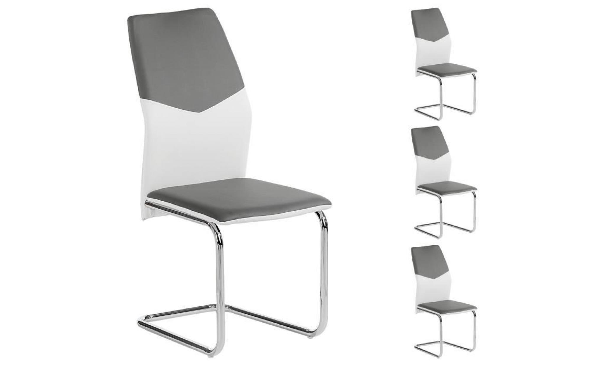 Lot de 4 chaises leona pu blanc gris achat vente chaise for Lot de 8 chaise pas cher