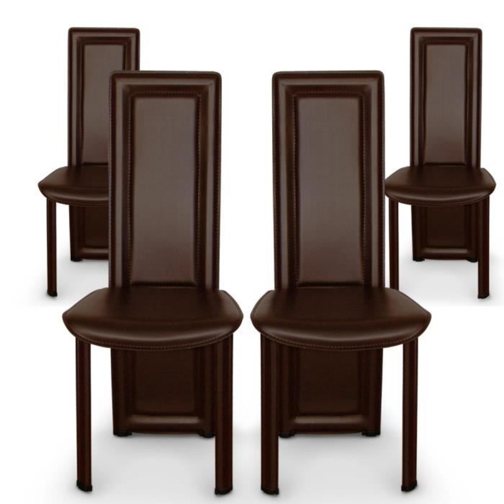 Lot de 4 chaises lune marron achat vente chaise salle a for Ensemble buffet table manger