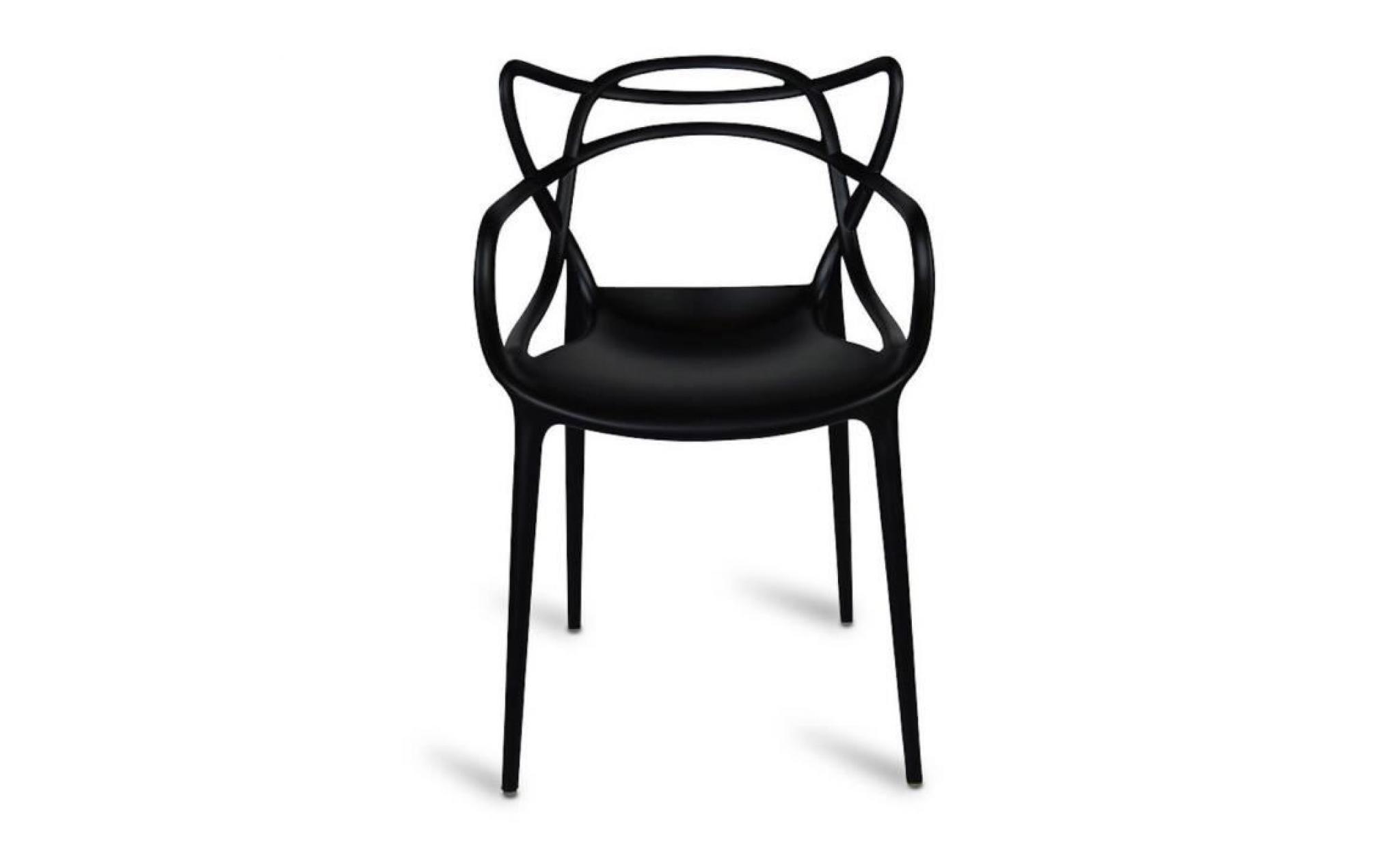 Master lot de 4 chaises noires inspir e bureau salon salle Chaise de terrasse pas cher