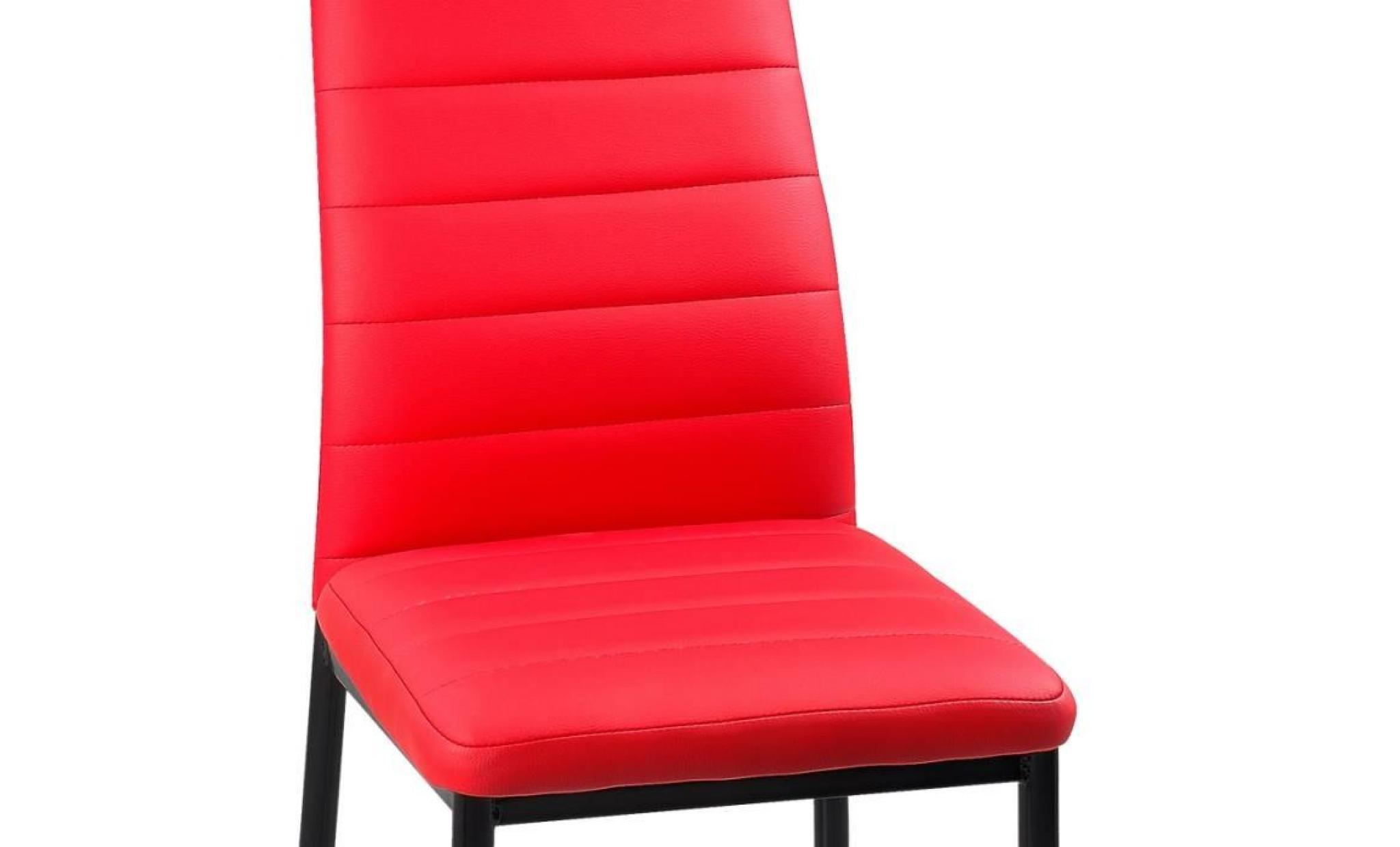 lot de 4 chaises rouge iris achat vente chaise salle a manger pas cher couleur et. Black Bedroom Furniture Sets. Home Design Ideas