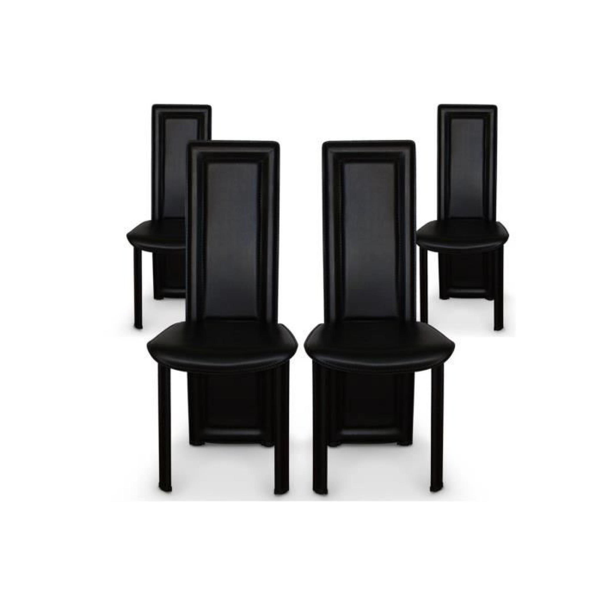 lot de 4 chaises salle a manger noires asya achat vente. Black Bedroom Furniture Sets. Home Design Ideas