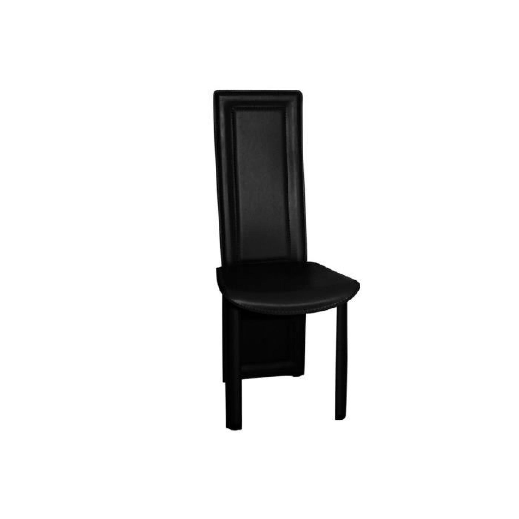 Lot de 4 chaises salle a manger noires asya achat vente - Lot de 6 chaises noires ...