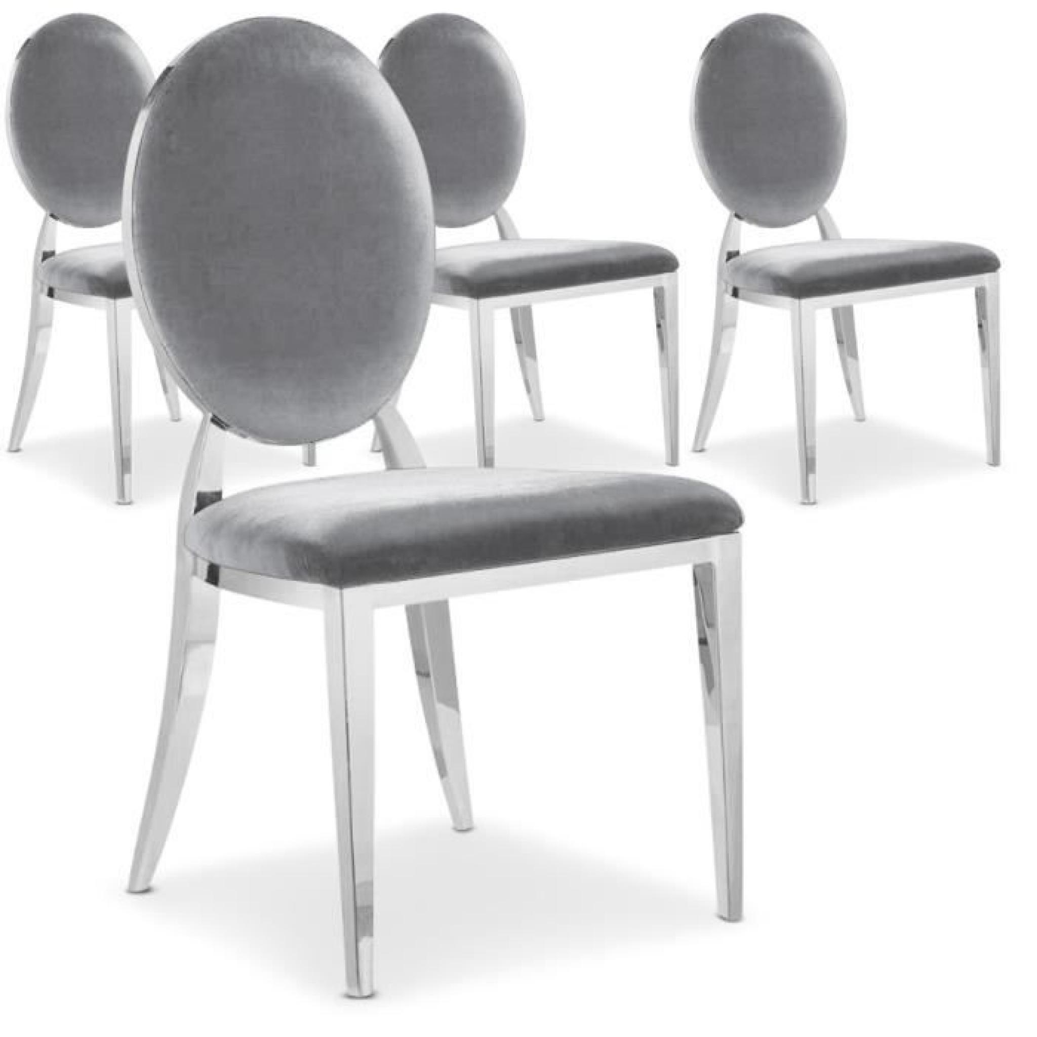 lot de 4 chaises sofia velours argent achat vente chaise. Black Bedroom Furniture Sets. Home Design Ideas