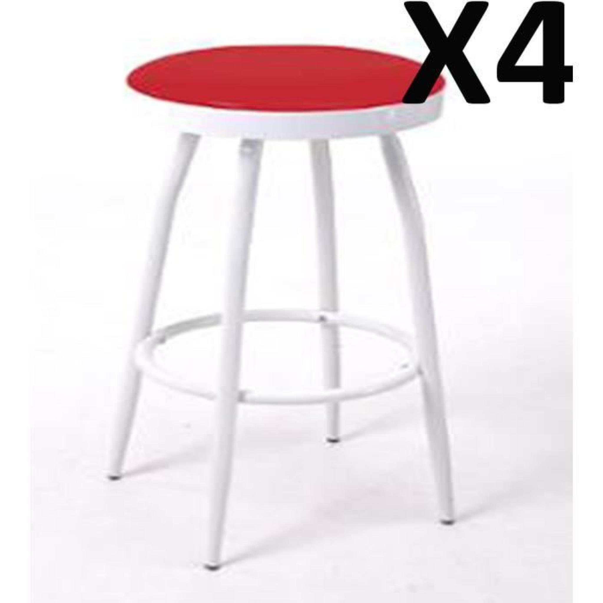 Lot de 4 tabourets de bar rouge h 78 x d 36 cm achat vente tabouret de bar - Lot tabouret de bar pas cher ...