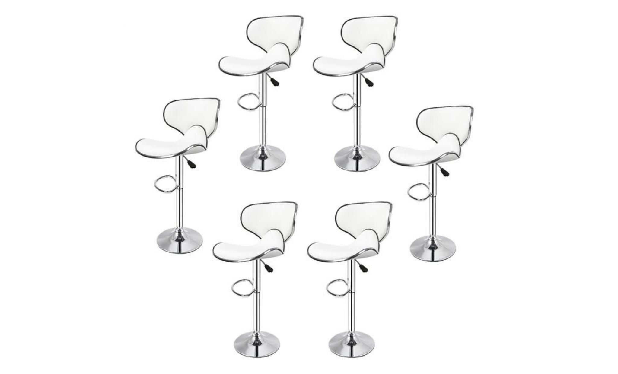 lot de 6 chaise de bar tabourets de bar blanc