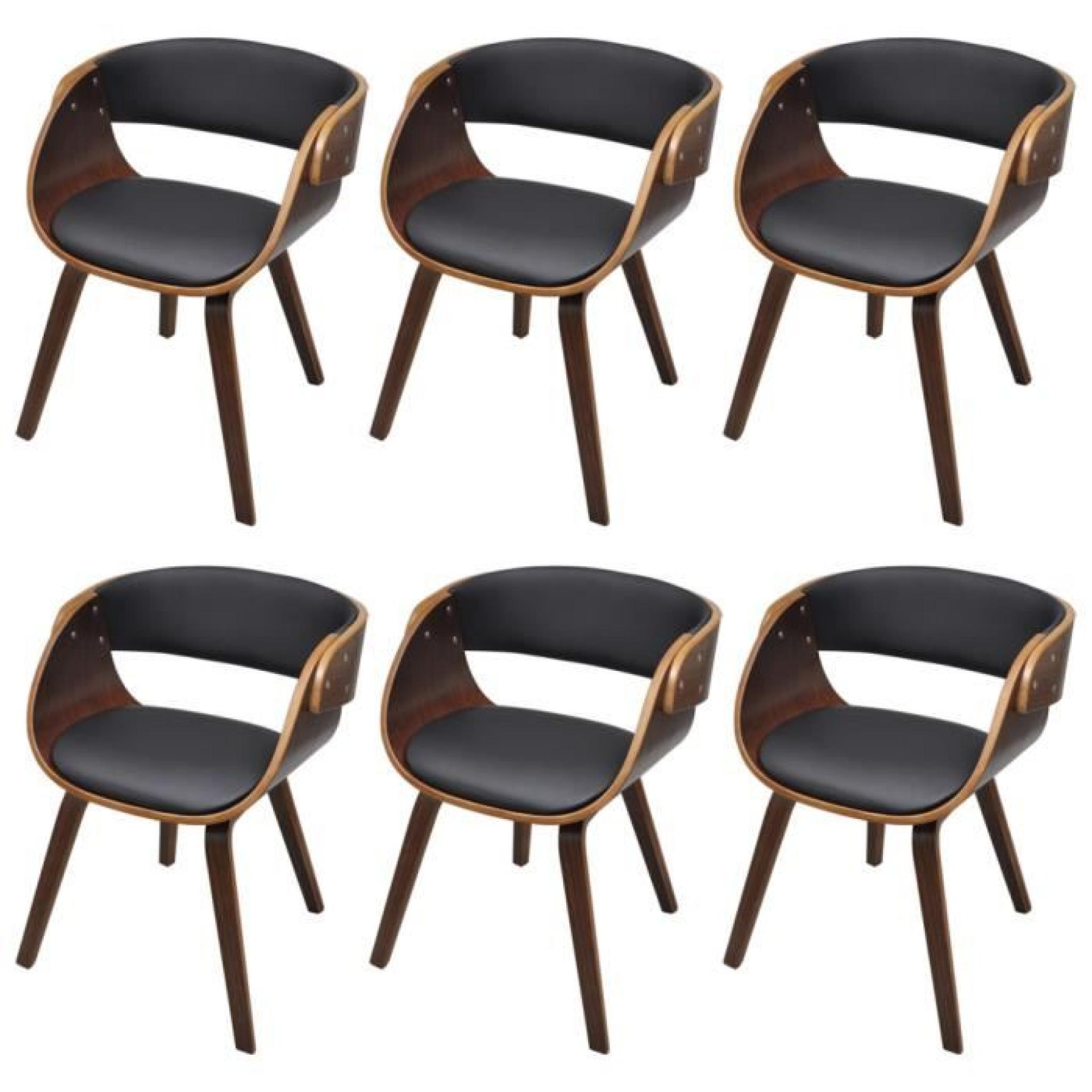 lot de 6 chaises accoudoirs salle manger brun stylashop achat vente chaise salle a manger. Black Bedroom Furniture Sets. Home Design Ideas