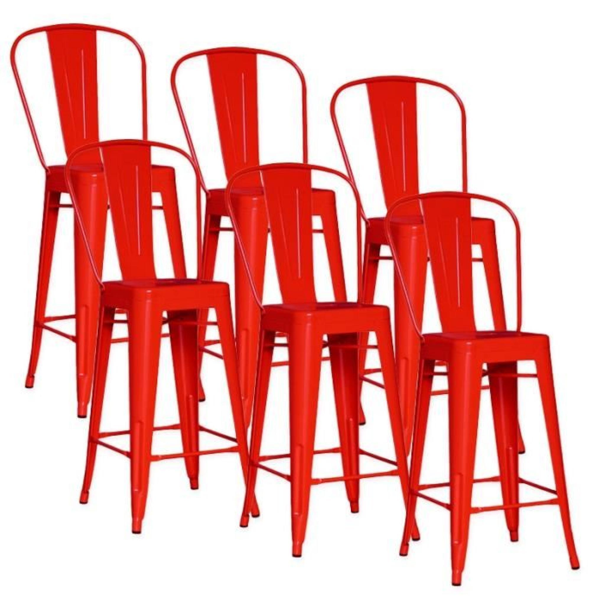 Lot De 6 Chaises De Bar Métal Loft Laqué Rouge Achatvente