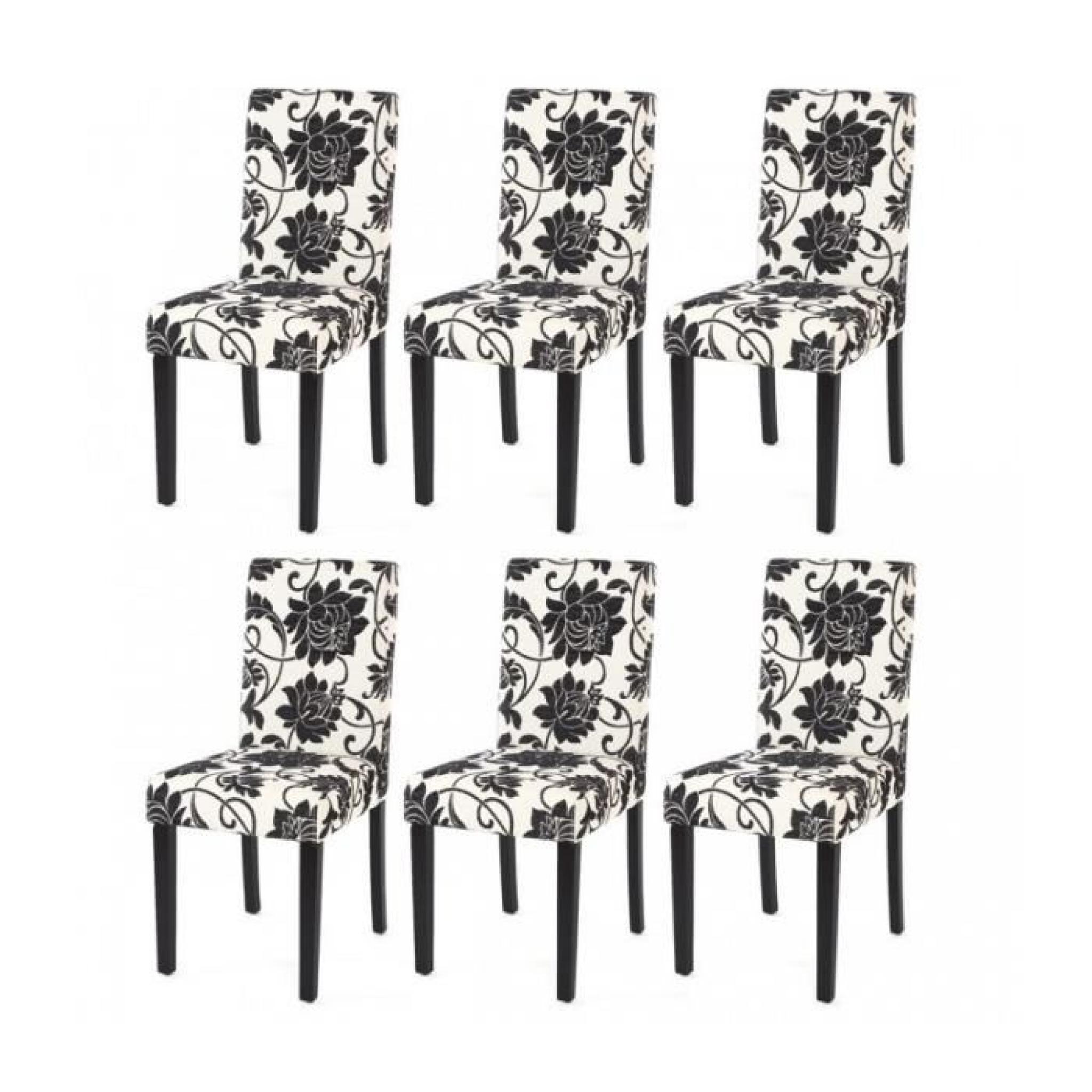 Lot de 6 chaises de salle manger en tissu imprim blanc for 6 chaises de salle a manger pas cher