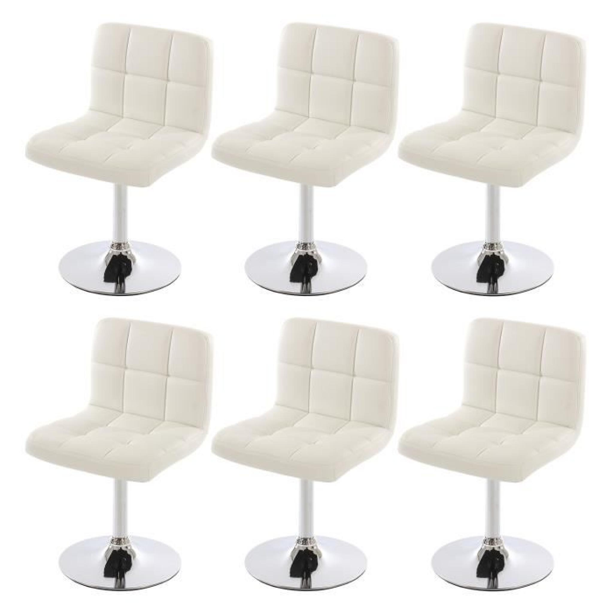 lot de 6 chaises de salle manger kavala pivotante pu blanc achat vente chaise salle a. Black Bedroom Furniture Sets. Home Design Ideas