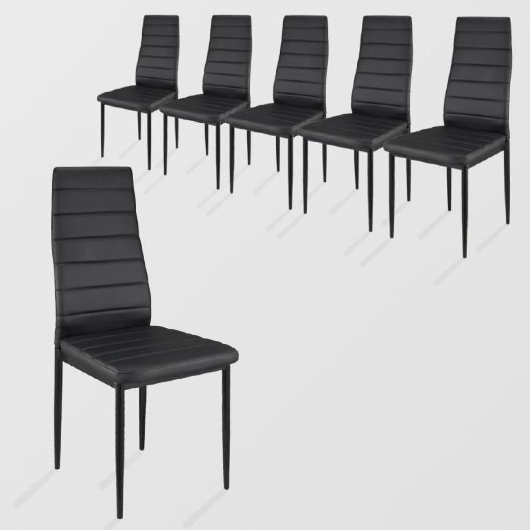 lot de 6 chaises de salle manger noir achat vente. Black Bedroom Furniture Sets. Home Design Ideas