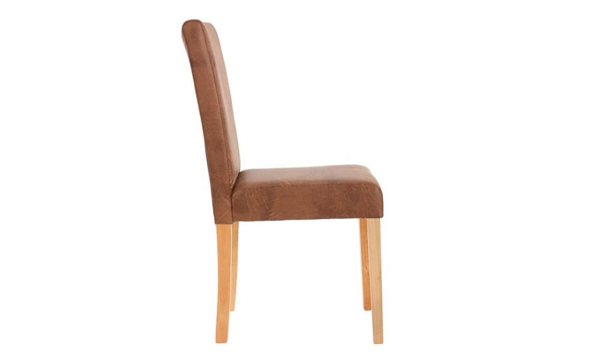 Lot de 6 chaises de salle manger simili cuir marron for Table de salle a manger 6 chaises
