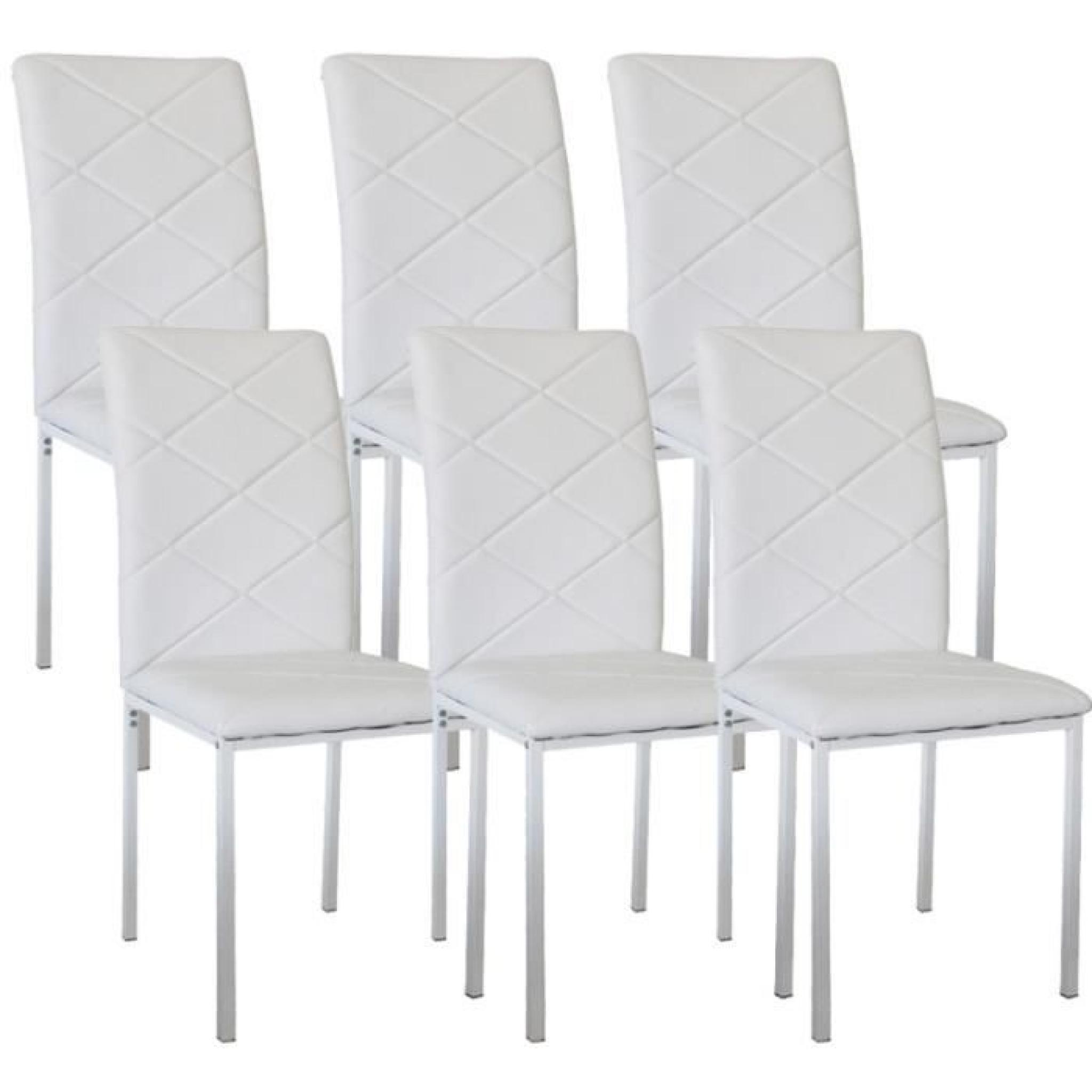 lot de 6 chaises design blanche ray achat vente chaise salle a manger pas cher couleur et. Black Bedroom Furniture Sets. Home Design Ideas