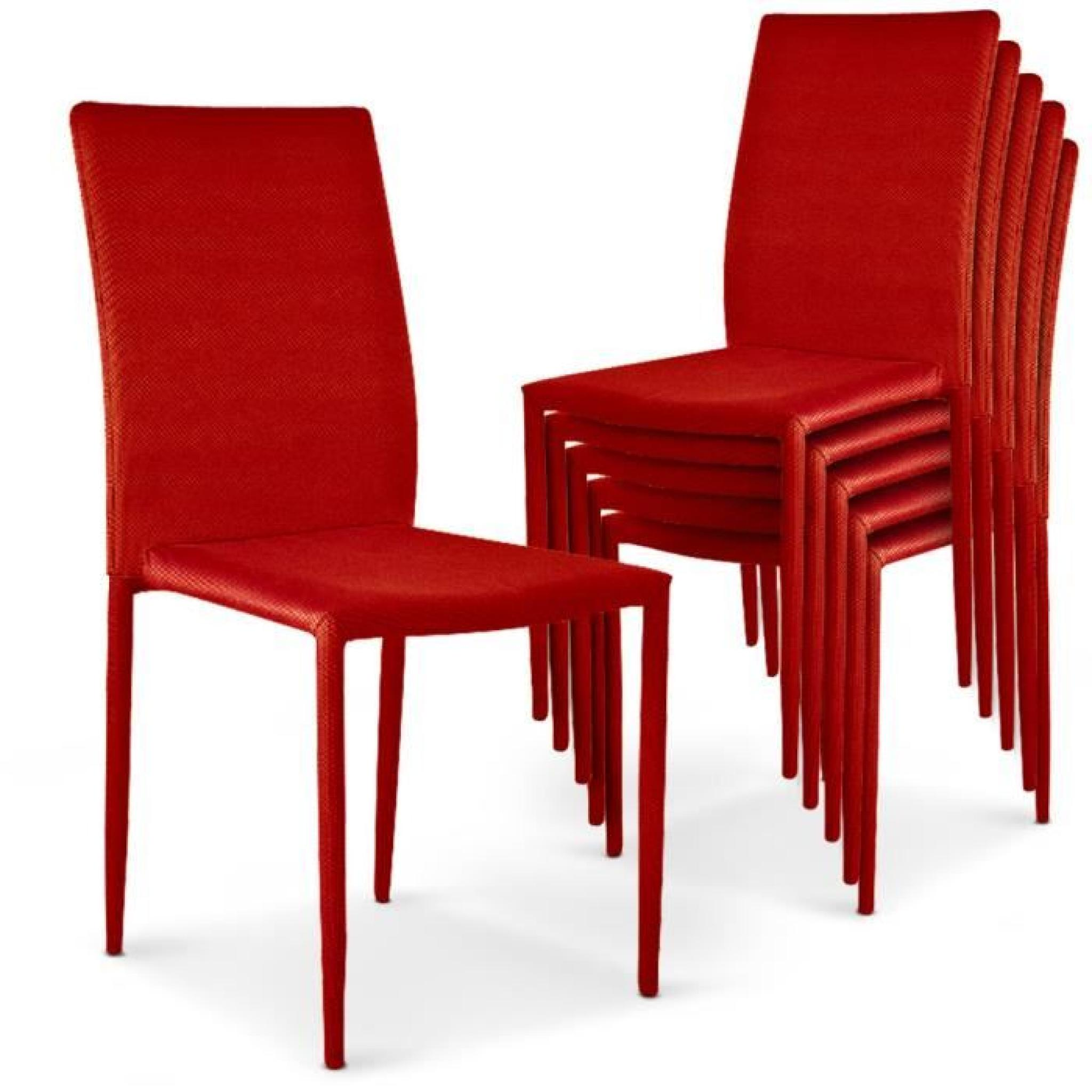 Lot de 6 chaises empilables modan rouge achat vente for Chaise promo super u