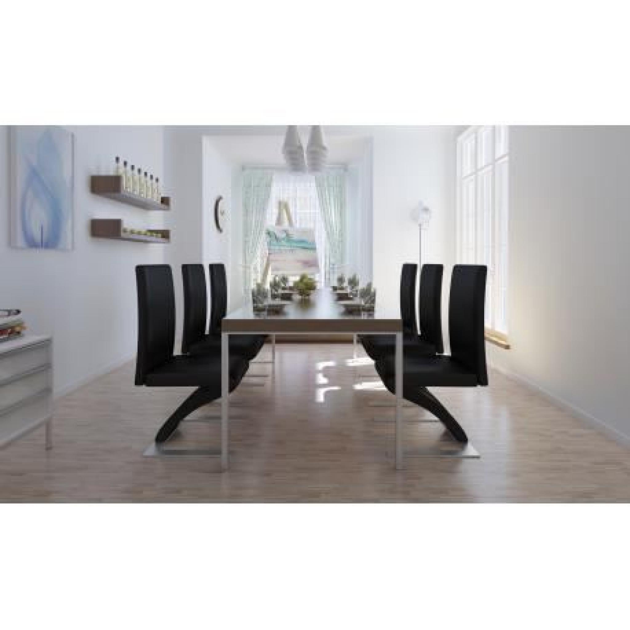 lot de 6 chaises noir achat vente chaise salle a manger pas cher couleur et. Black Bedroom Furniture Sets. Home Design Ideas