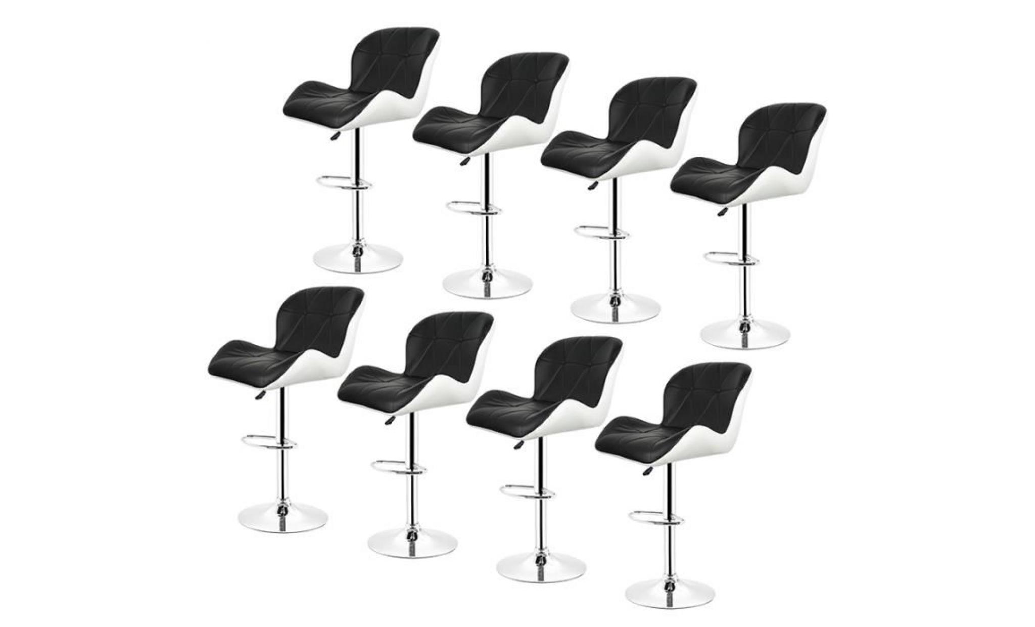 lot de 8 noir blanc tabourets de bar réglable