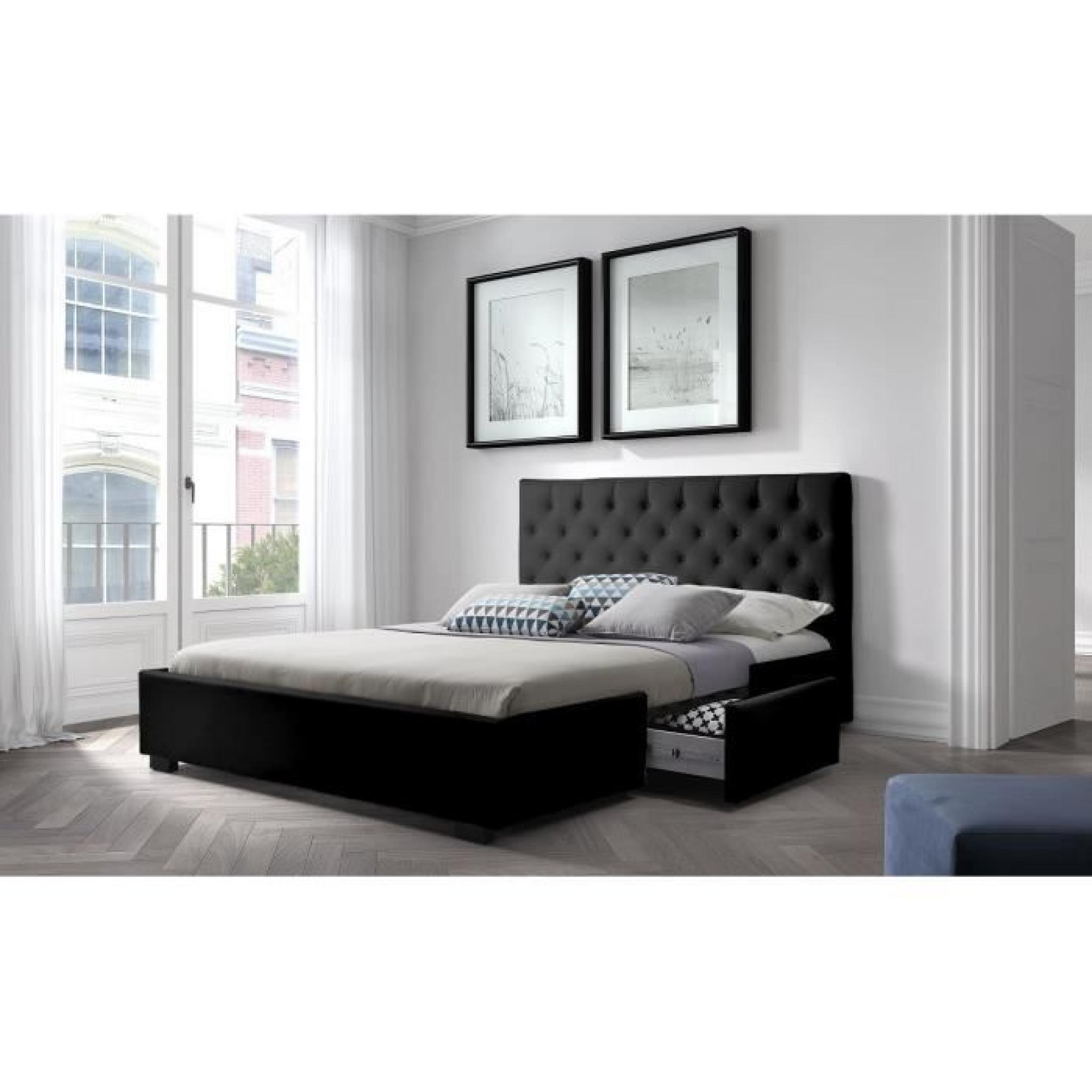 louis structure de lit 180x200 cm sommier 2 tiroirs simili noir achat vente lit pas. Black Bedroom Furniture Sets. Home Design Ideas