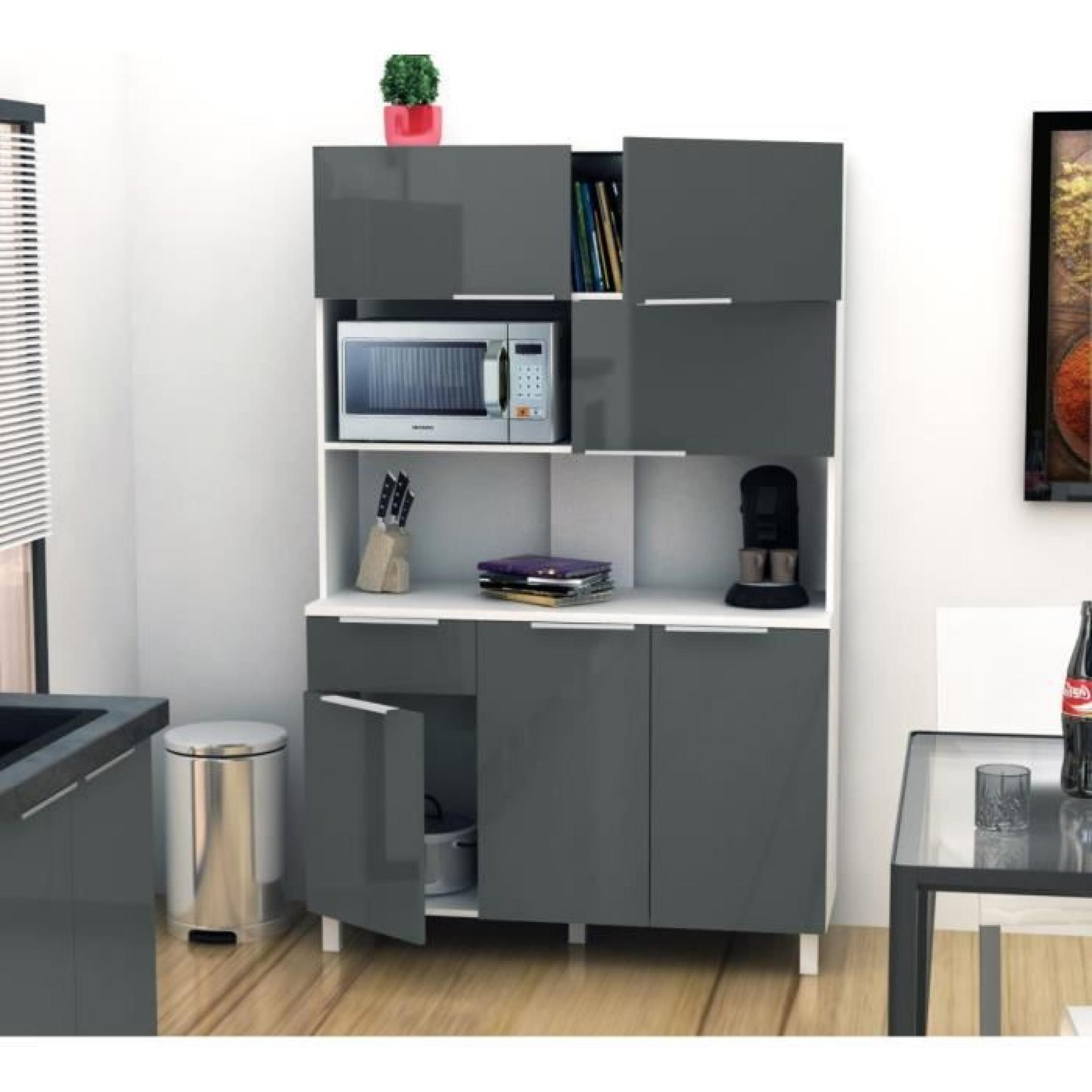 lova buffet de cuisine 120 cm gris haute brillance. Black Bedroom Furniture Sets. Home Design Ideas