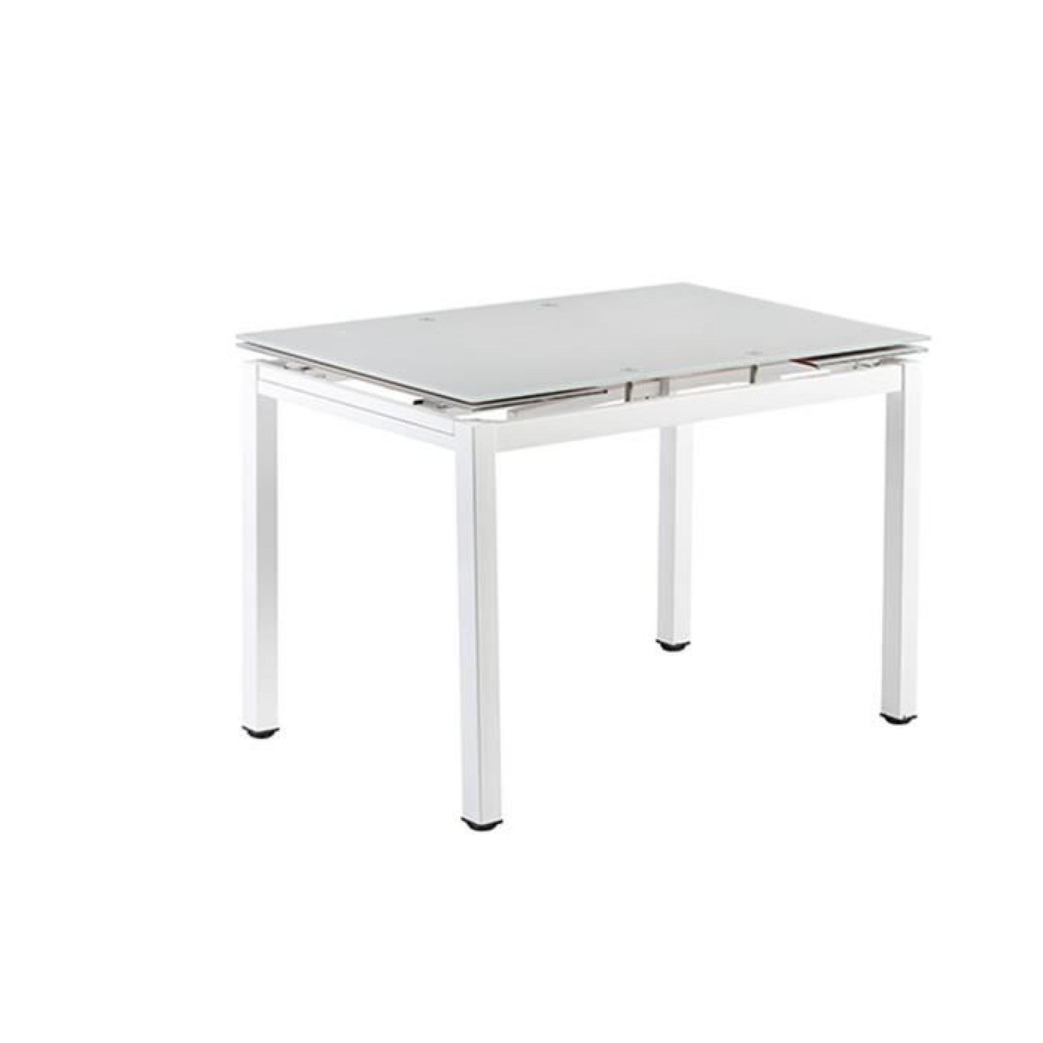 Lucky En Verre Trempé Plateau Table 110170cm Gris Extensible 4R3LA5j