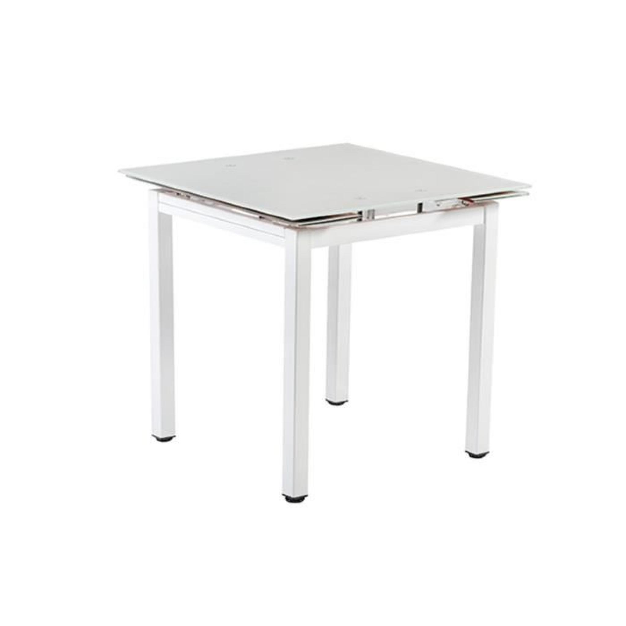 Lucky Table Extensible 80120cm Plateau Verre Trempé Gris vymN8n0wOP