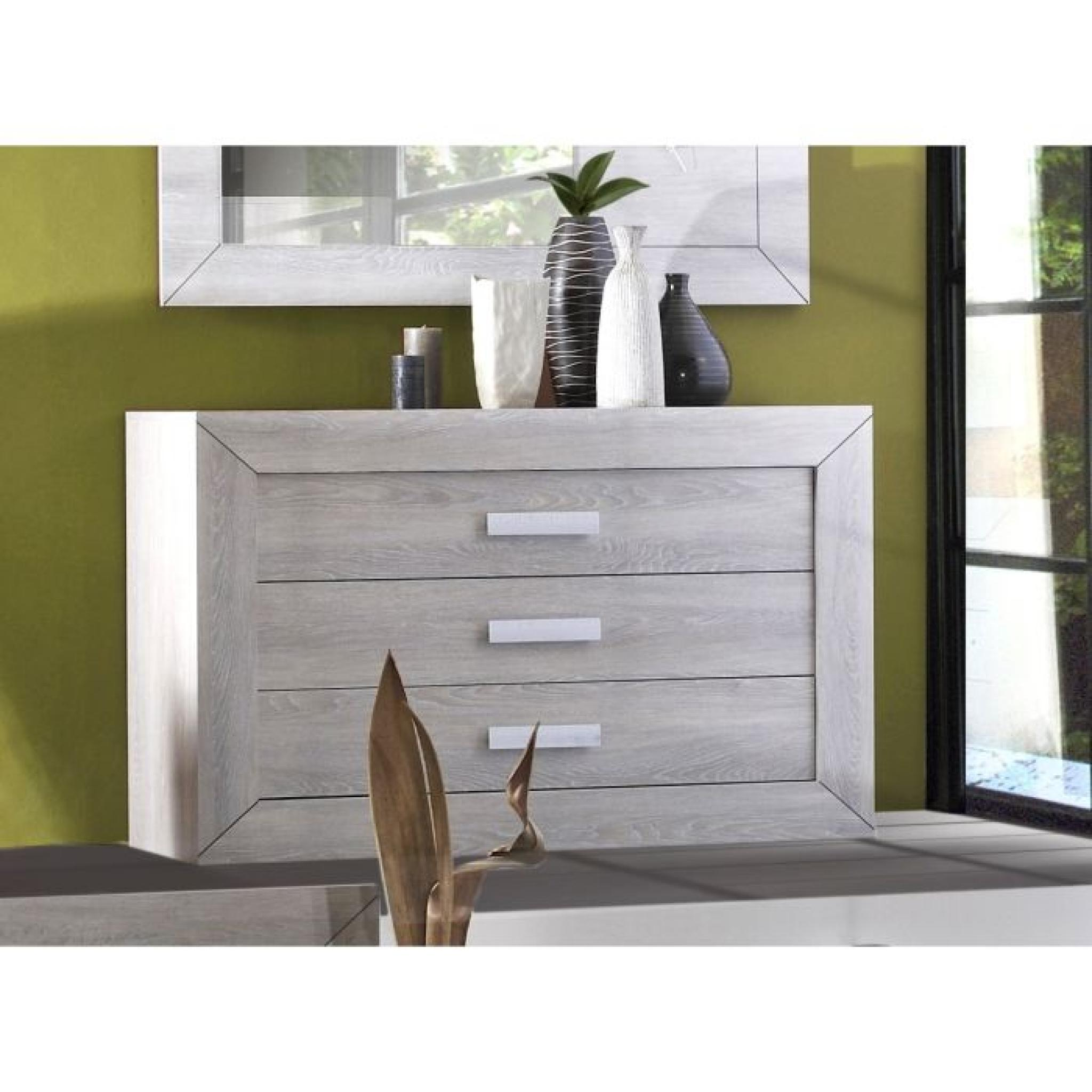 lumeo commode 3 tiroirs 130cm ch ne gris clair achat vente commode pas cher couleur et. Black Bedroom Furniture Sets. Home Design Ideas