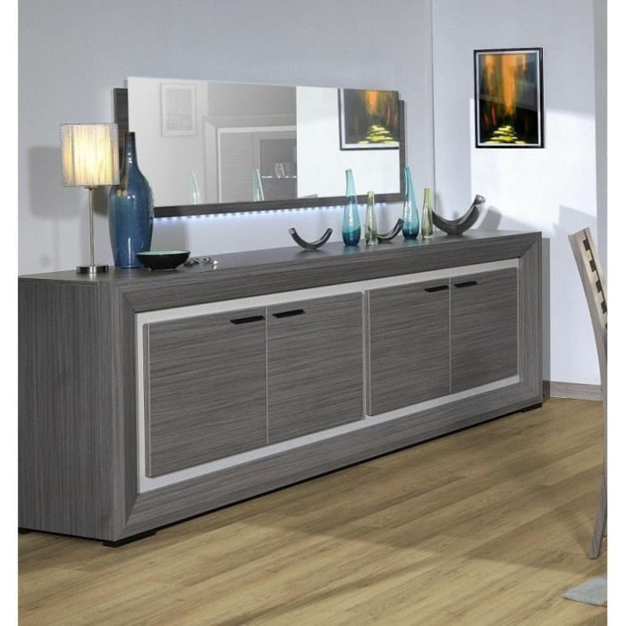 lynea bahut bois gris et laque l248 cm achat vente. Black Bedroom Furniture Sets. Home Design Ideas