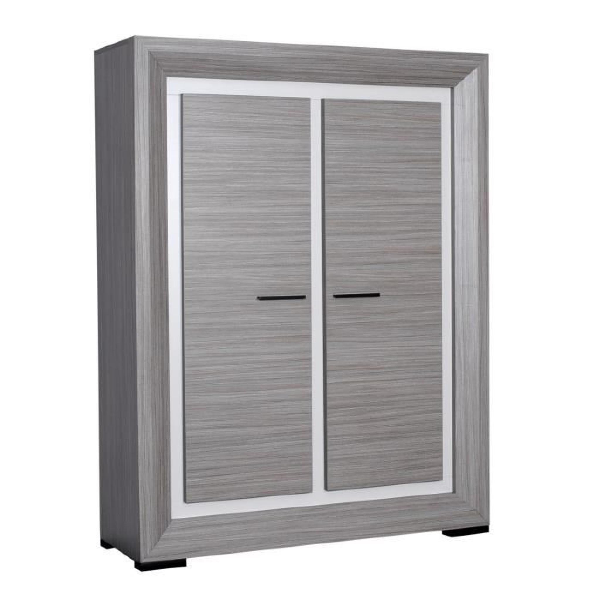 lynea buffet haut bois gris et laque l125 cm achat vente. Black Bedroom Furniture Sets. Home Design Ideas