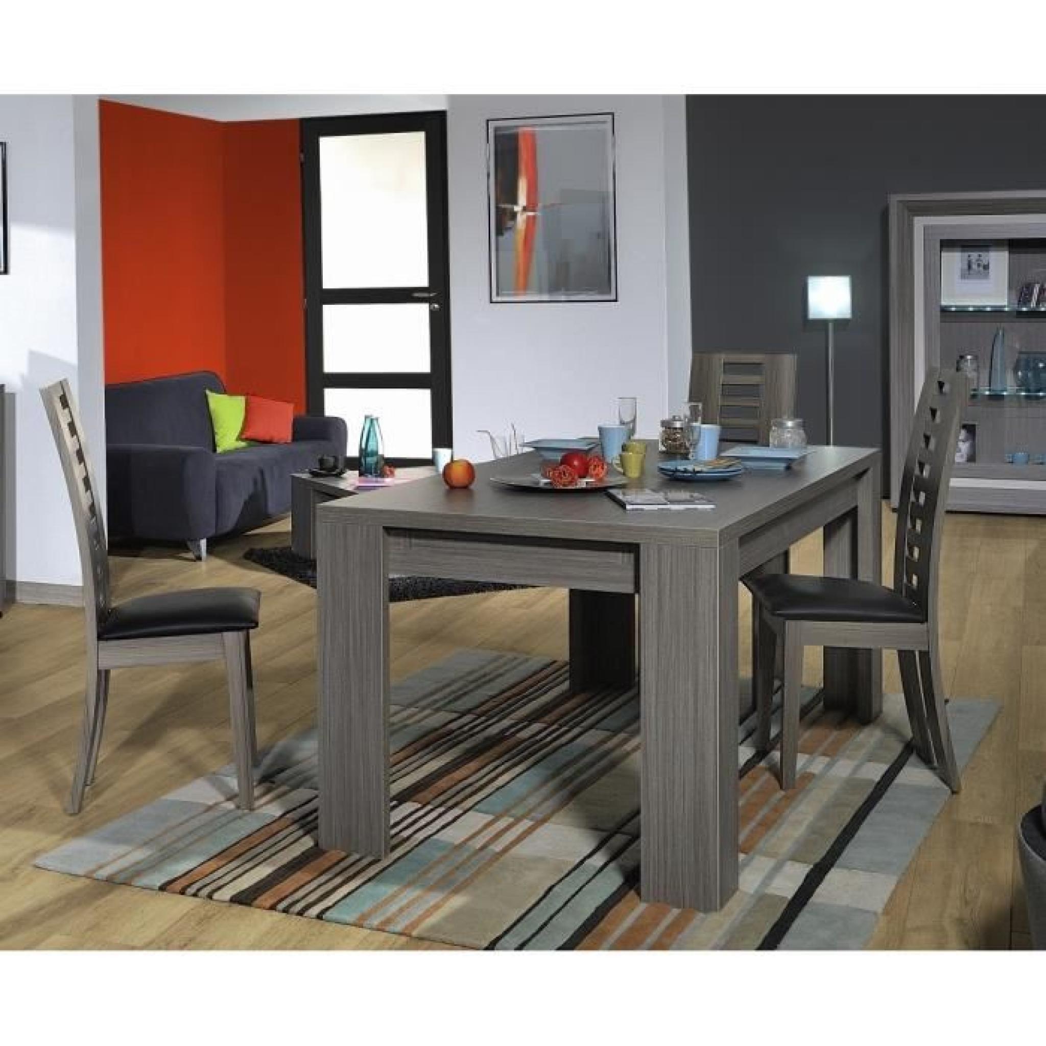 LYNEA Table rect. bois gris et laque L180/260 cm