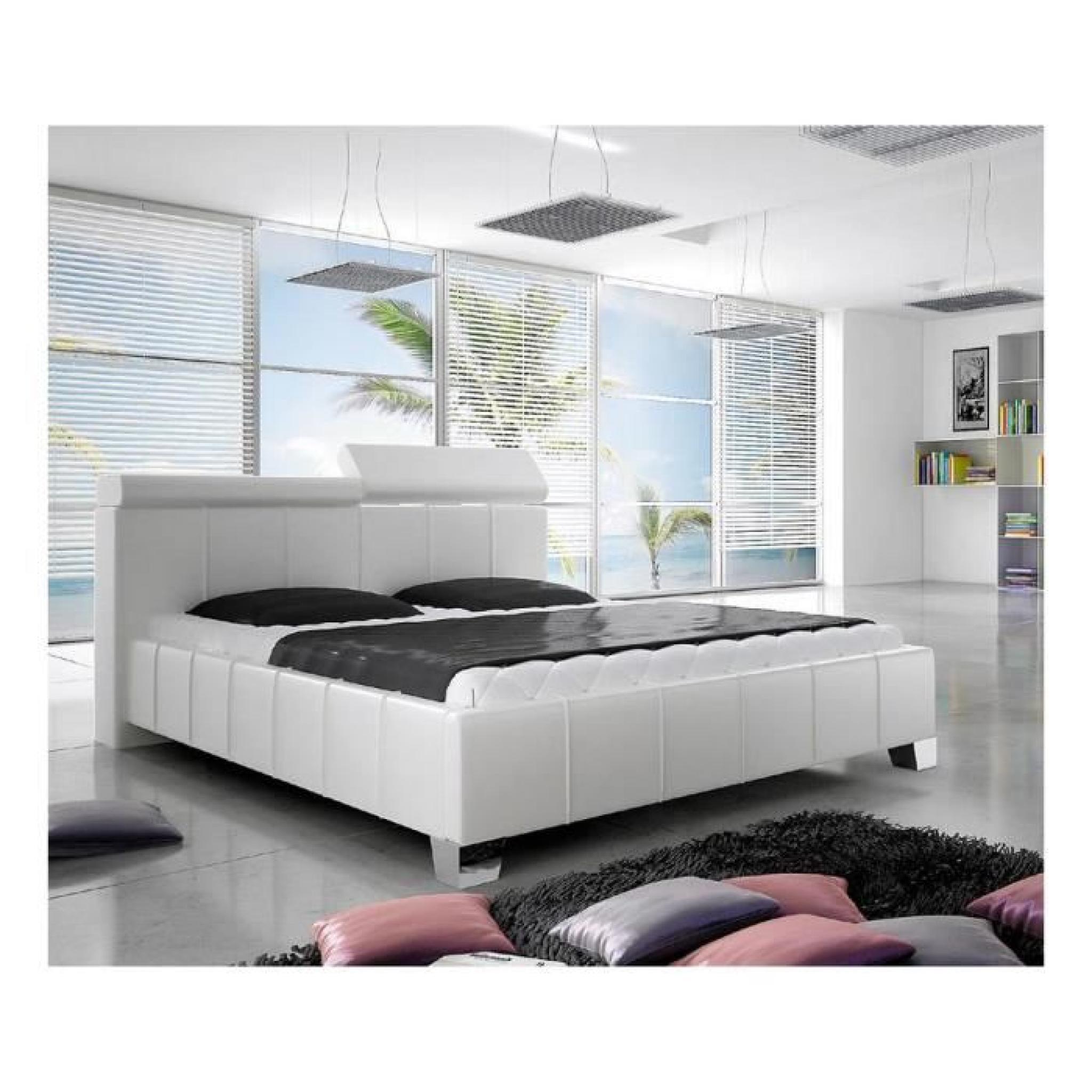 madeira lit rembourr en cuir cologique noir 17 140x200 cm achat vente lit pas cher couleur. Black Bedroom Furniture Sets. Home Design Ideas