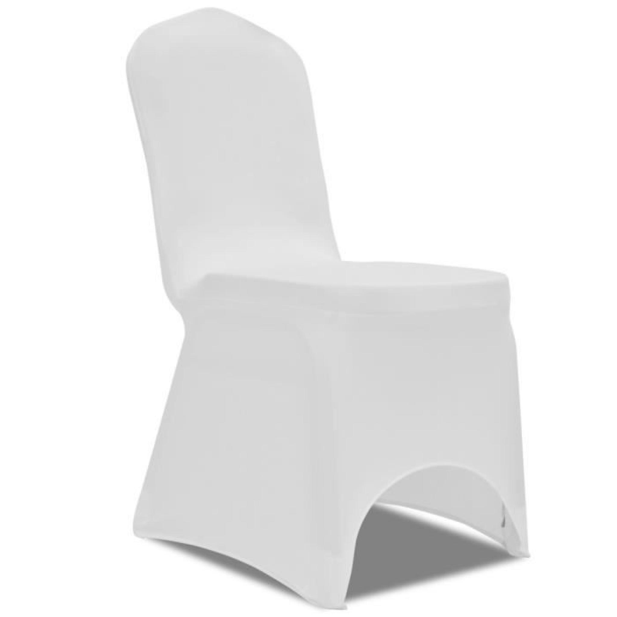 Magnifique Housse blanche extensible pour chaise 6 pieces